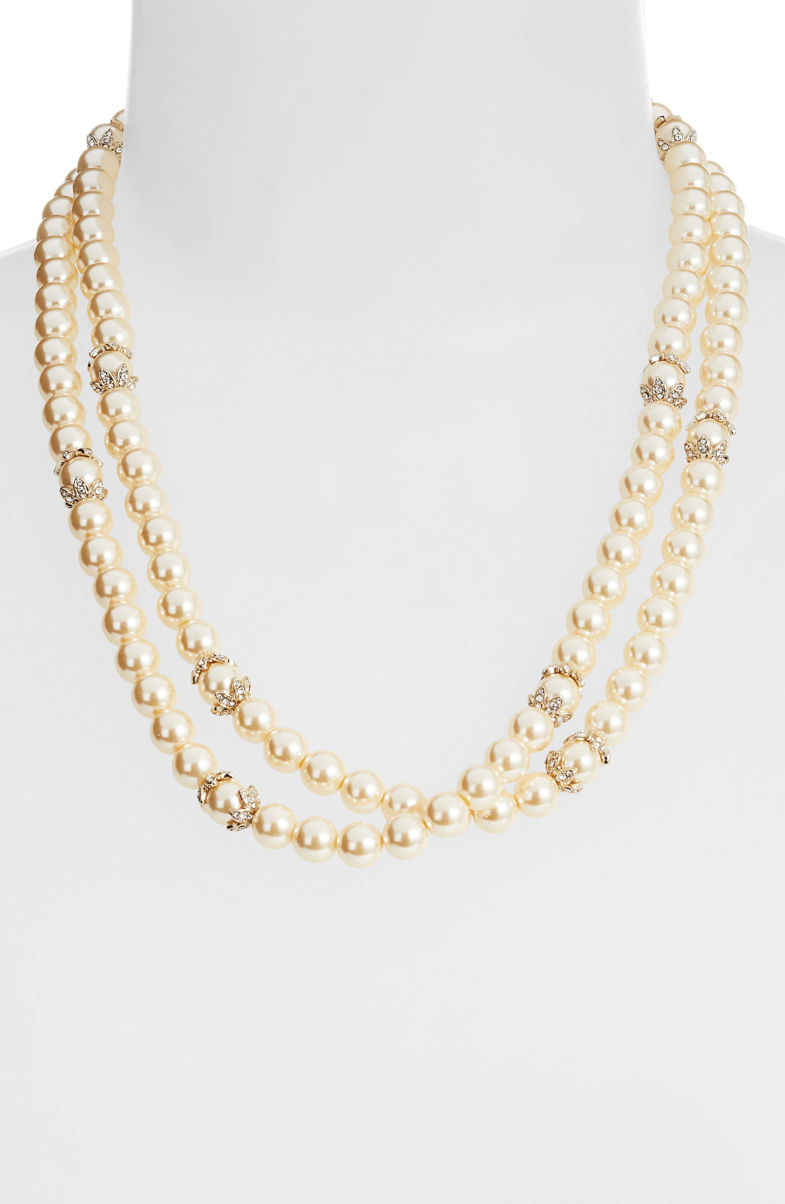 MARCHESA, Long Imitation Pearl Strand Necklace, Alternate thumbnail 2, color, BLUSH/ GOLD