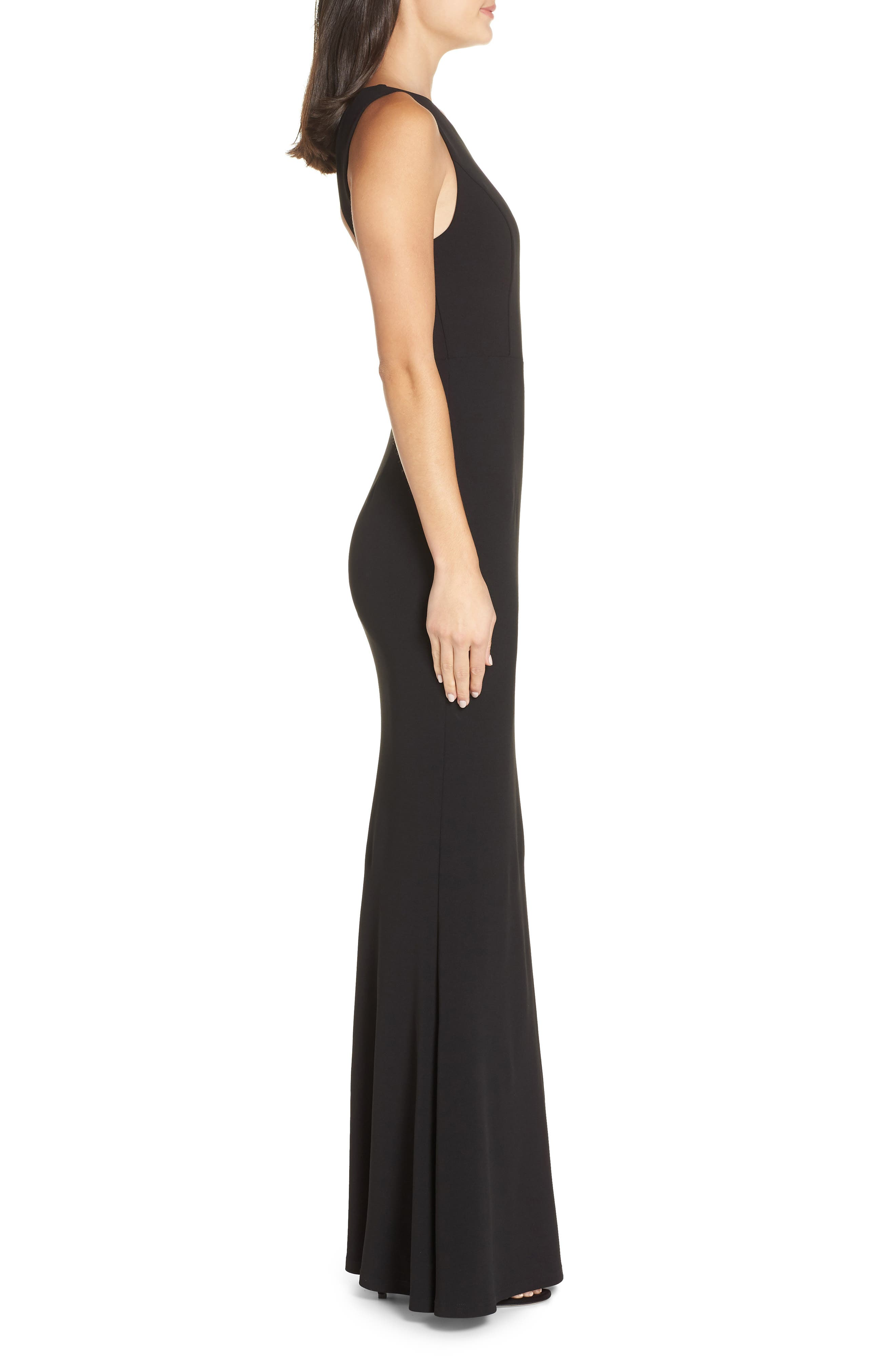 LULUS, Mine Backless Trumpet Gown, Alternate thumbnail 4, color, BLACK