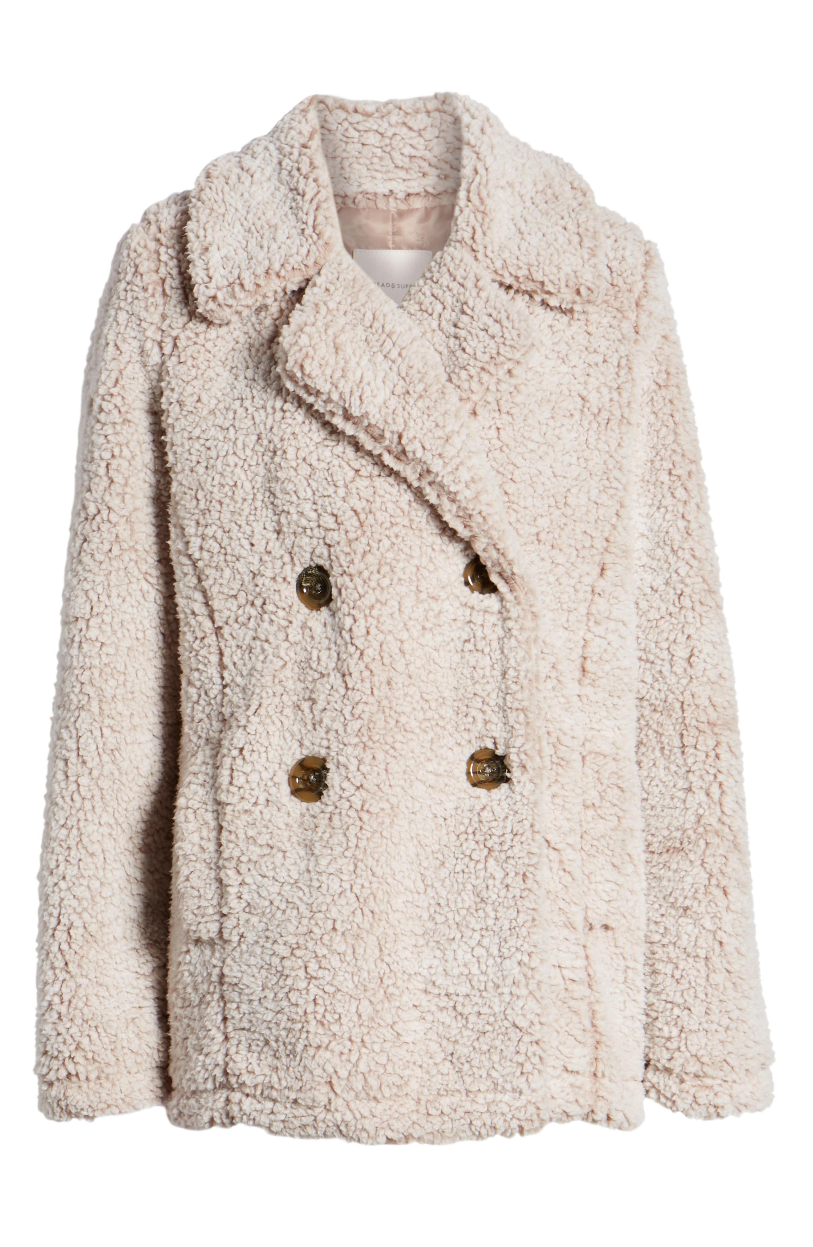 THREAD & SUPPLY, Double Breasted Fleece Coat, Alternate thumbnail 6, color, SMOKE ROSE