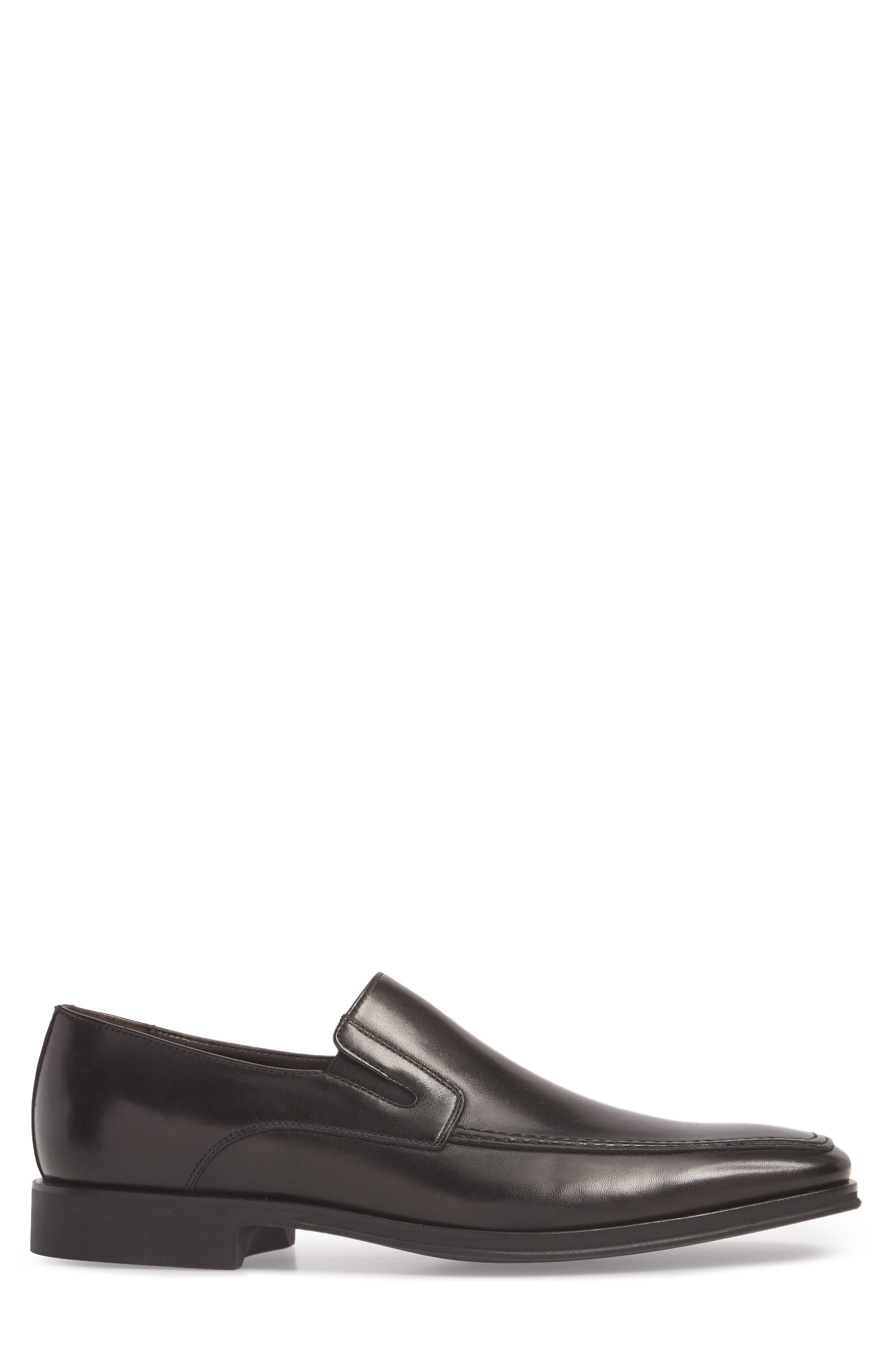 MONTE ROSSO, Lucca Nappa Leather Loafer, Alternate thumbnail 3, color, BLACK