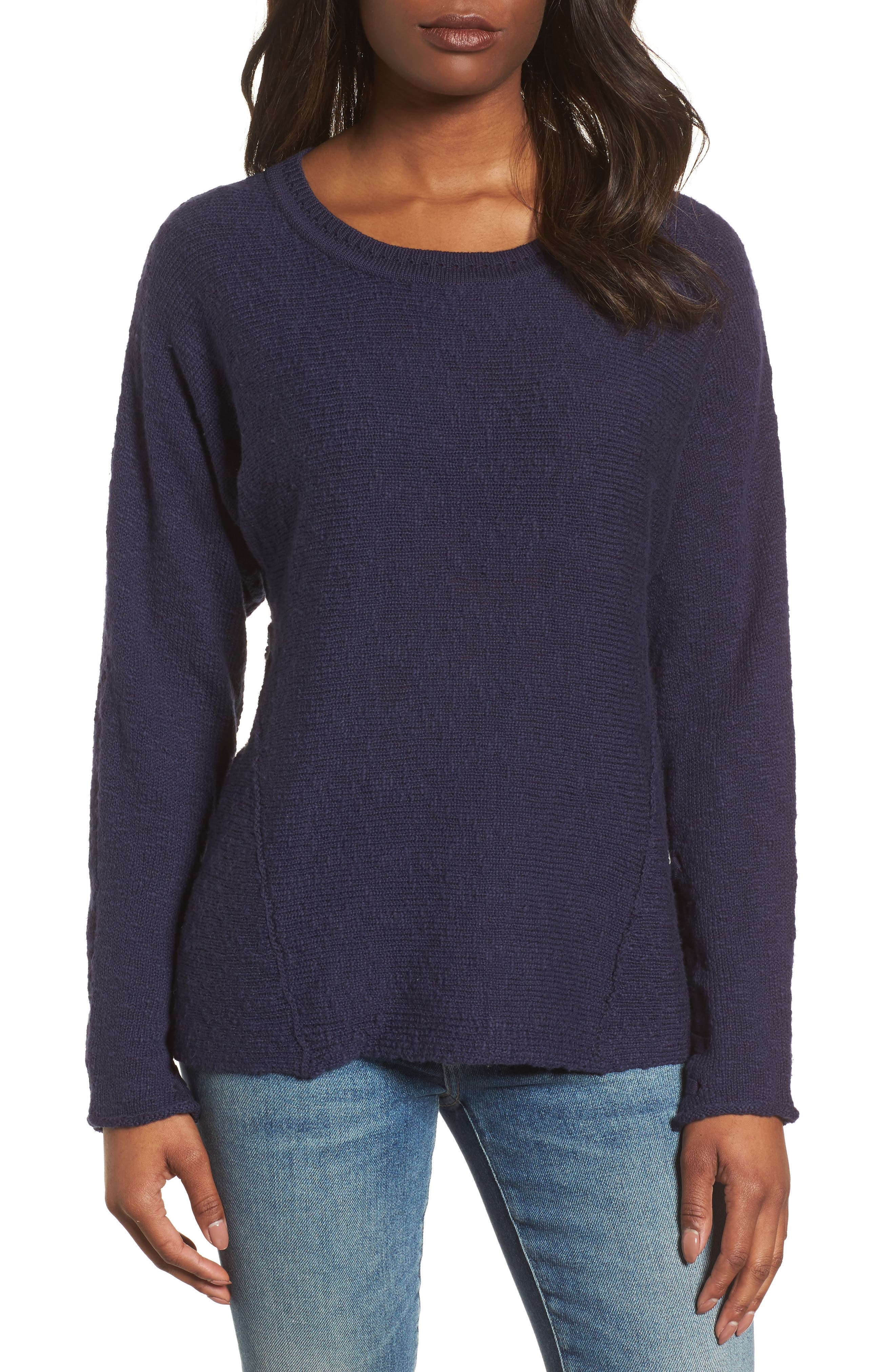 CASLON<SUP>®</SUP>, Mix Stitch Swing Cotton Sweater, Main thumbnail 1, color, NAVY PEACOAT