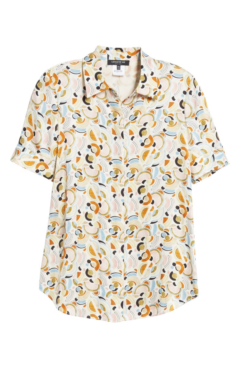 78432f4baf40e5 Lafayette 148 Scottie Short-Sleeve Lyrical Curves Printed Silk Blouse In  Cloud Multi