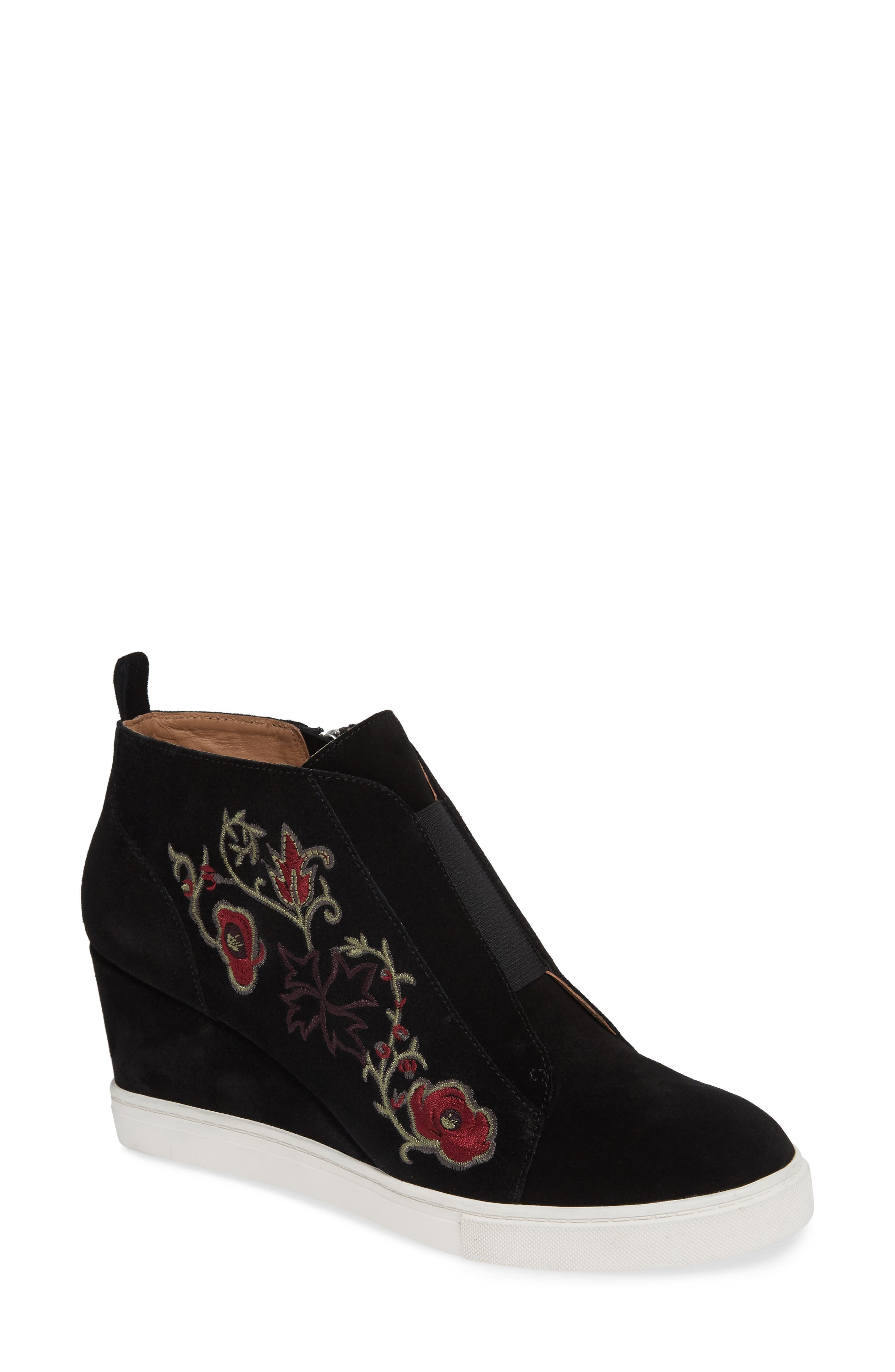 LINEA PAOLO, Felicia II Wedge Bootie, Main thumbnail 1, color, BLACK/ BLACK EMBROIDERY SUEDE