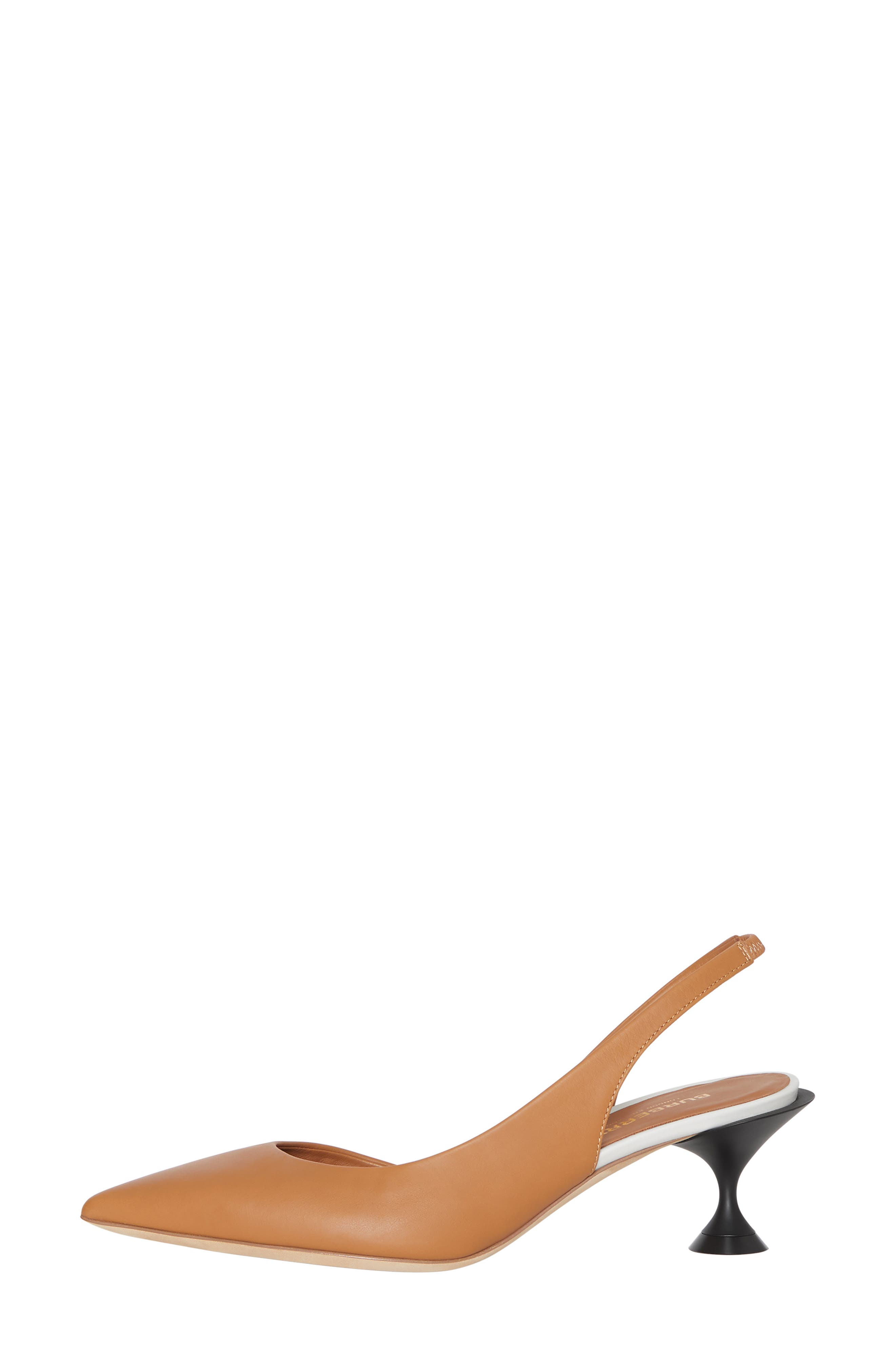 BURBERRY, Leticia Check Slingback Pump, Alternate thumbnail 3, color, CAMEL