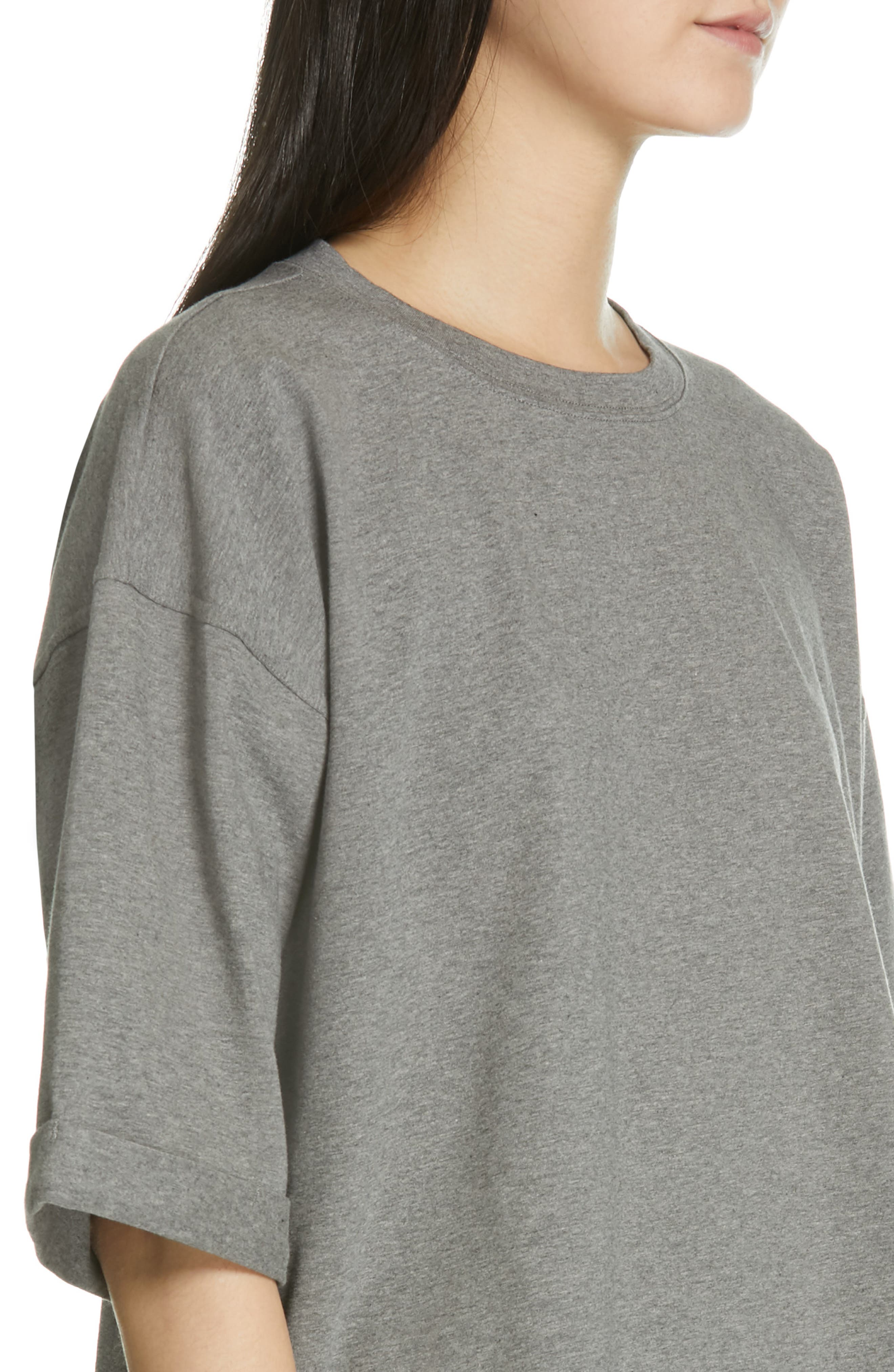 EILEEN FISHER, Stretch Organic Cotton Top, Alternate thumbnail 4, color, MOON