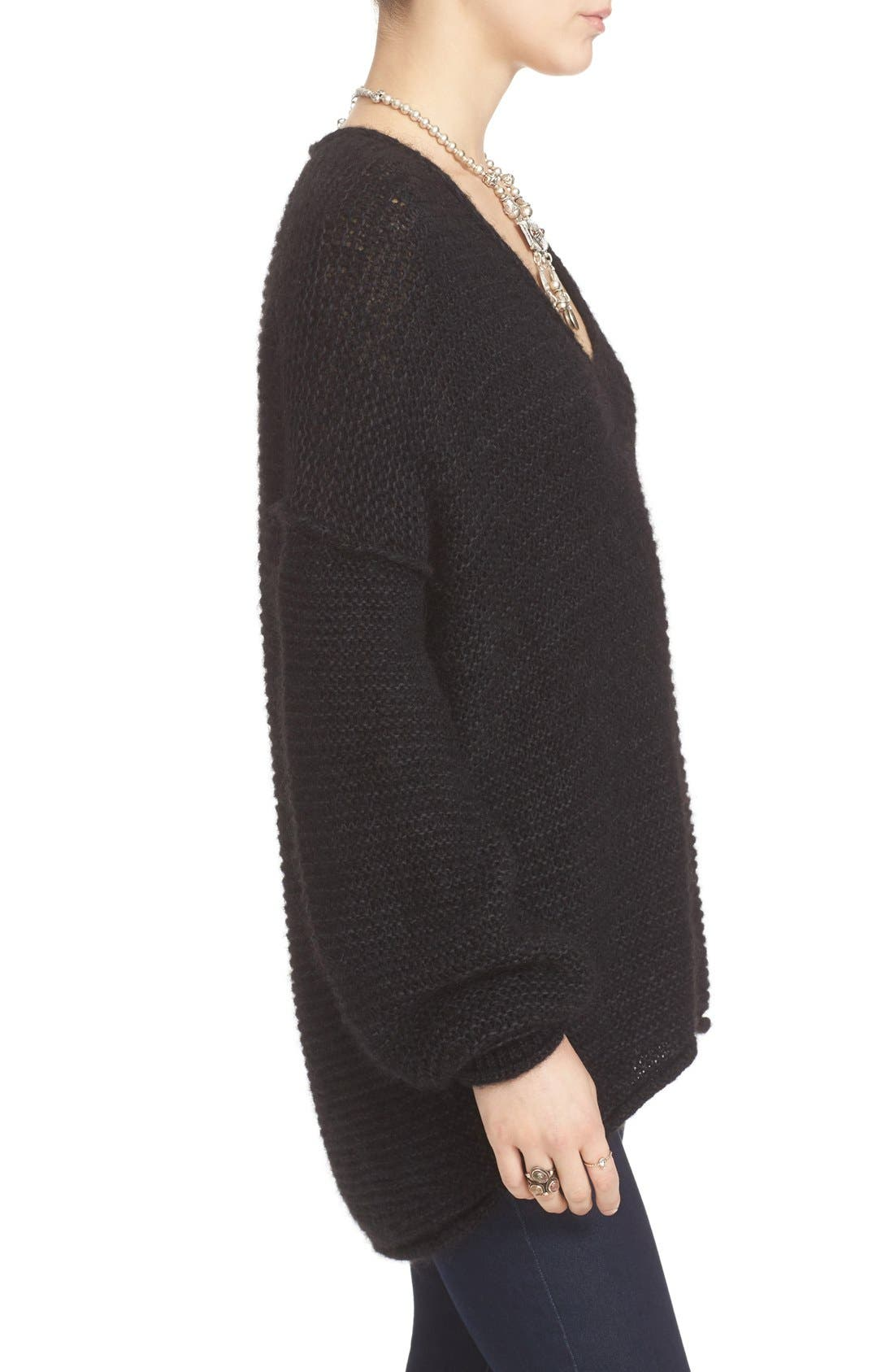 FREE PEOPLE, All Mine Sweater, Alternate thumbnail 3, color, 001