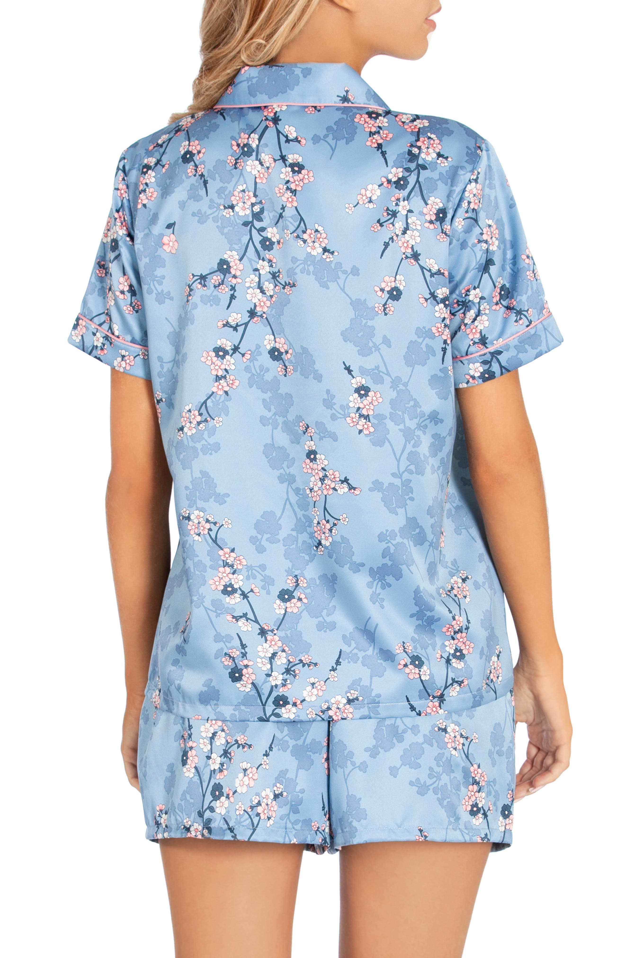 IN BLOOM BY JONQUIL, Satin Short Pajamas, Alternate thumbnail 2, color, PLUM BLOSSOM