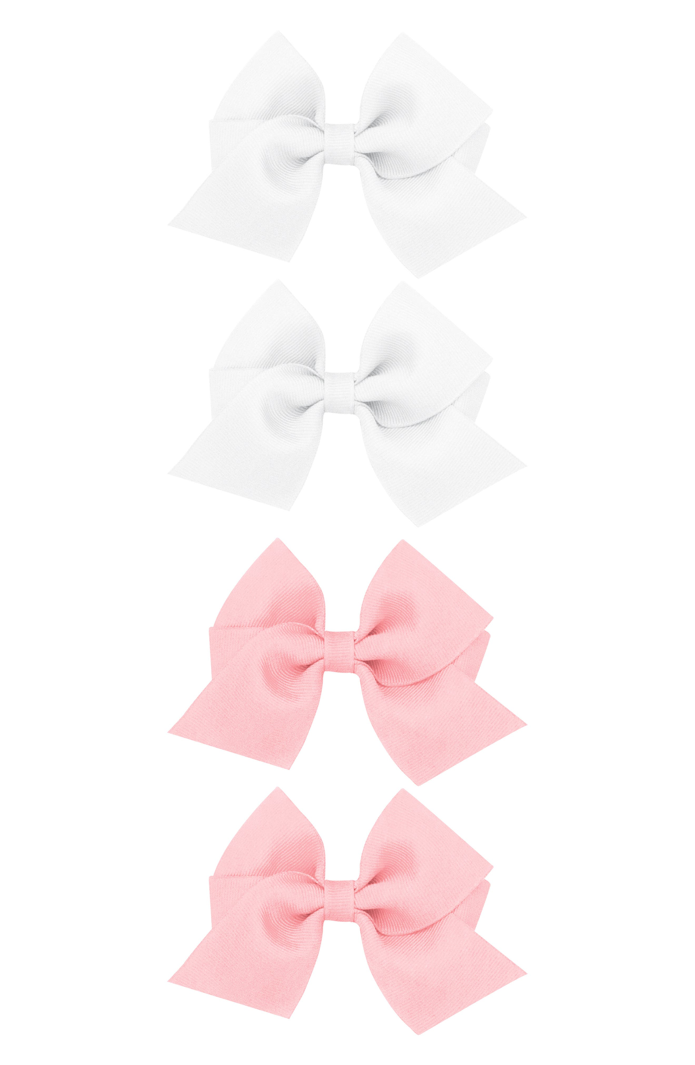 PLH BOWS Set of 4 Grosgrain Bow Hair Clips, Main, color, WHITE MULTI