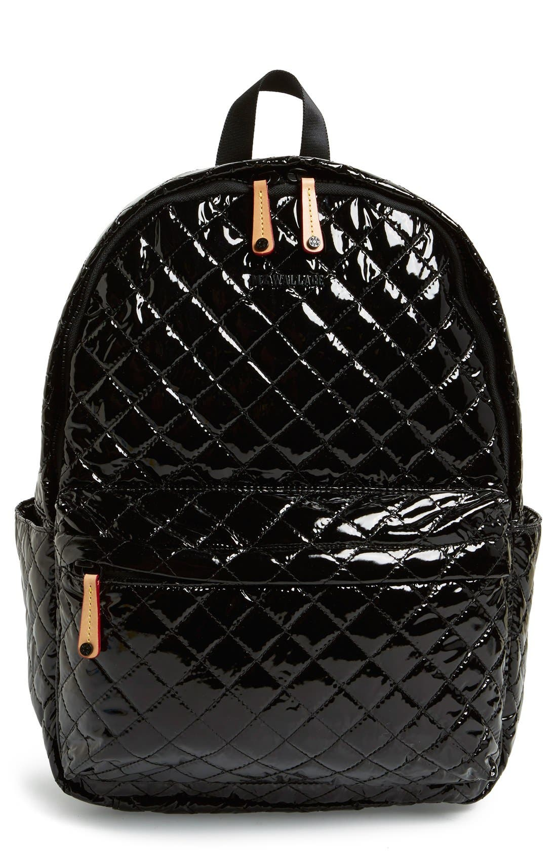 MZ WALLACE Metro Backpack, Main, color, BLACK LACQUER QUILTED