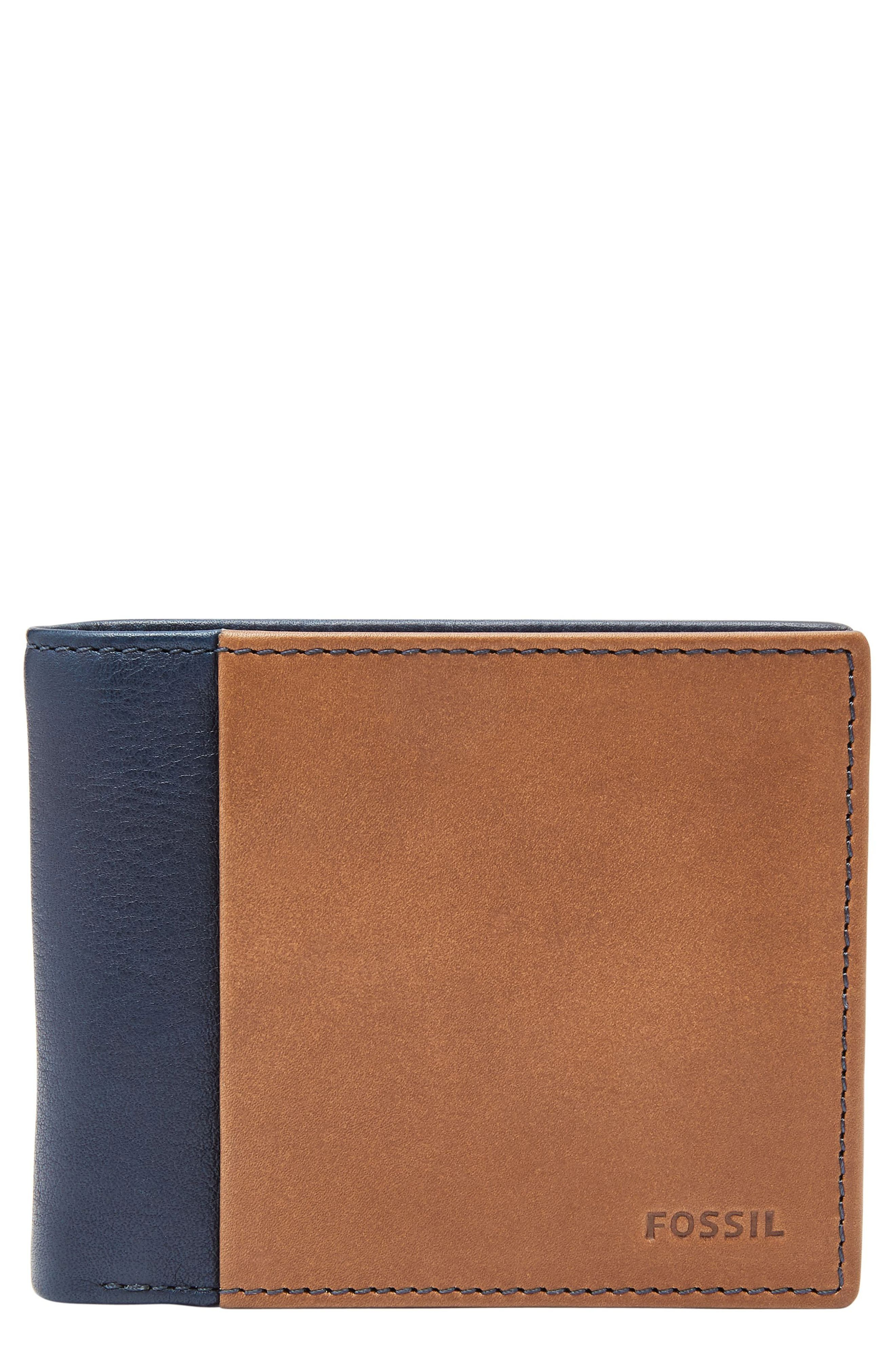 FOSSIL Ward Leather Wallet, Main, color, NAVY