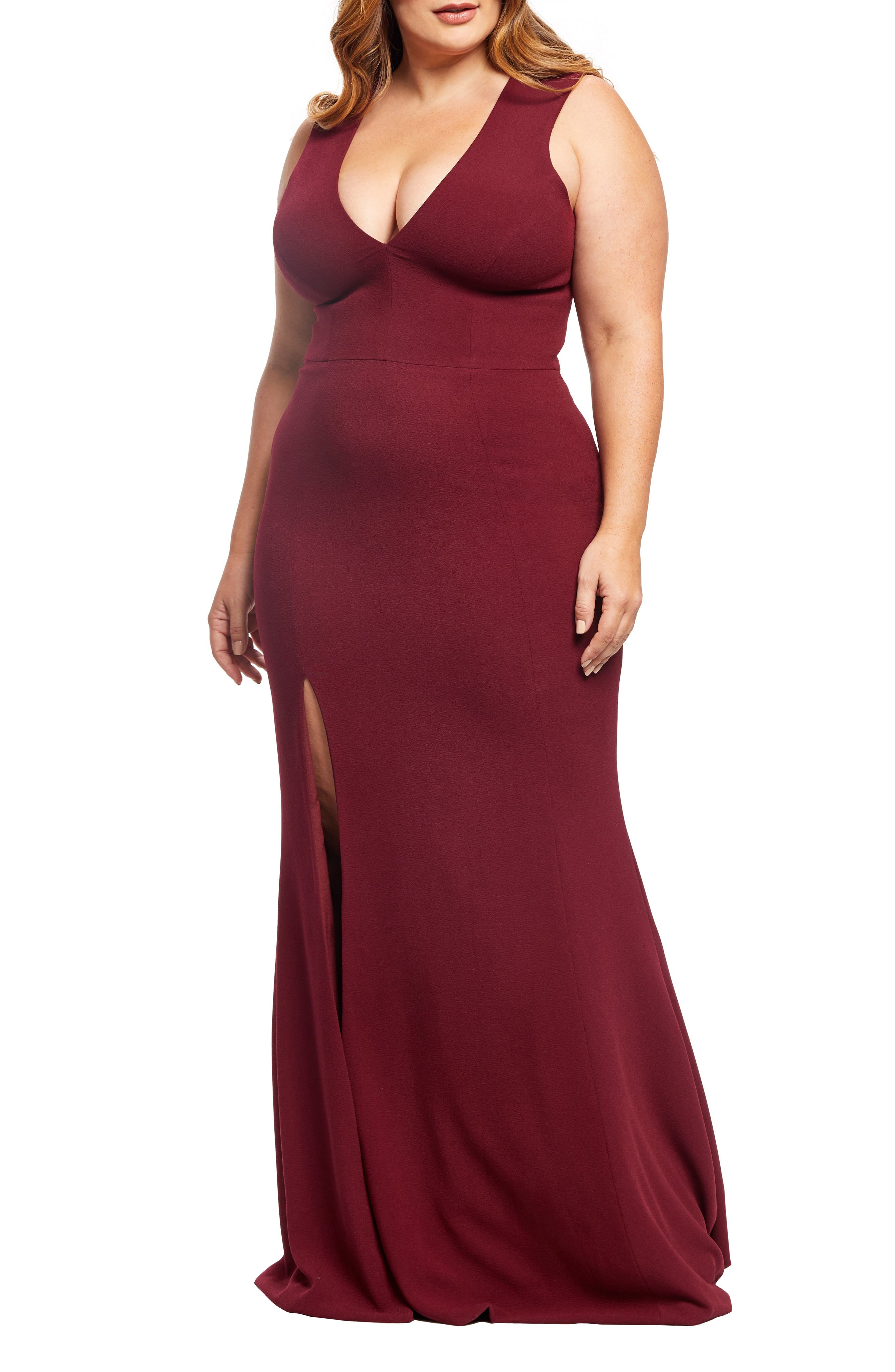 Plus Size Dress The Population Sandra Plunge Gown, Burgundy