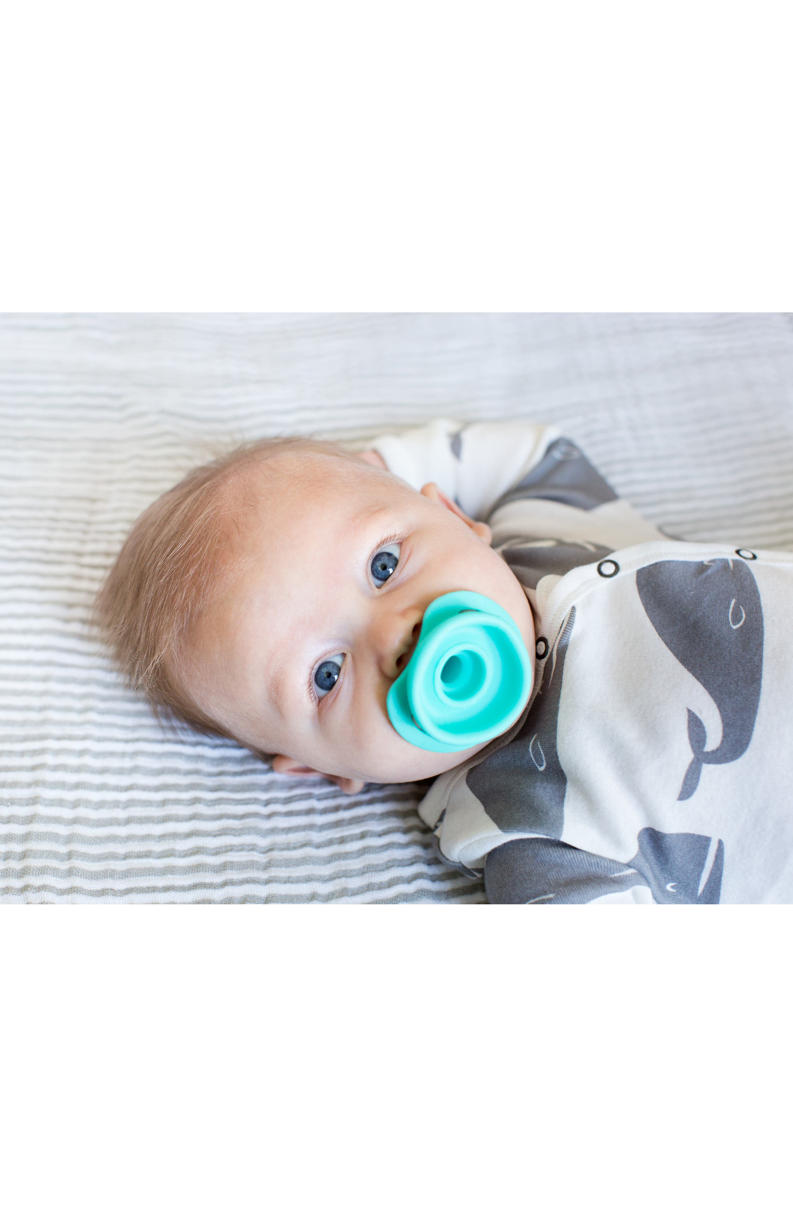 DODDLE & CO,  2-Pack The Pop Pacifier, Alternate thumbnail 3, color, MAKE ME BLUSH/ IN TEAL LIFE