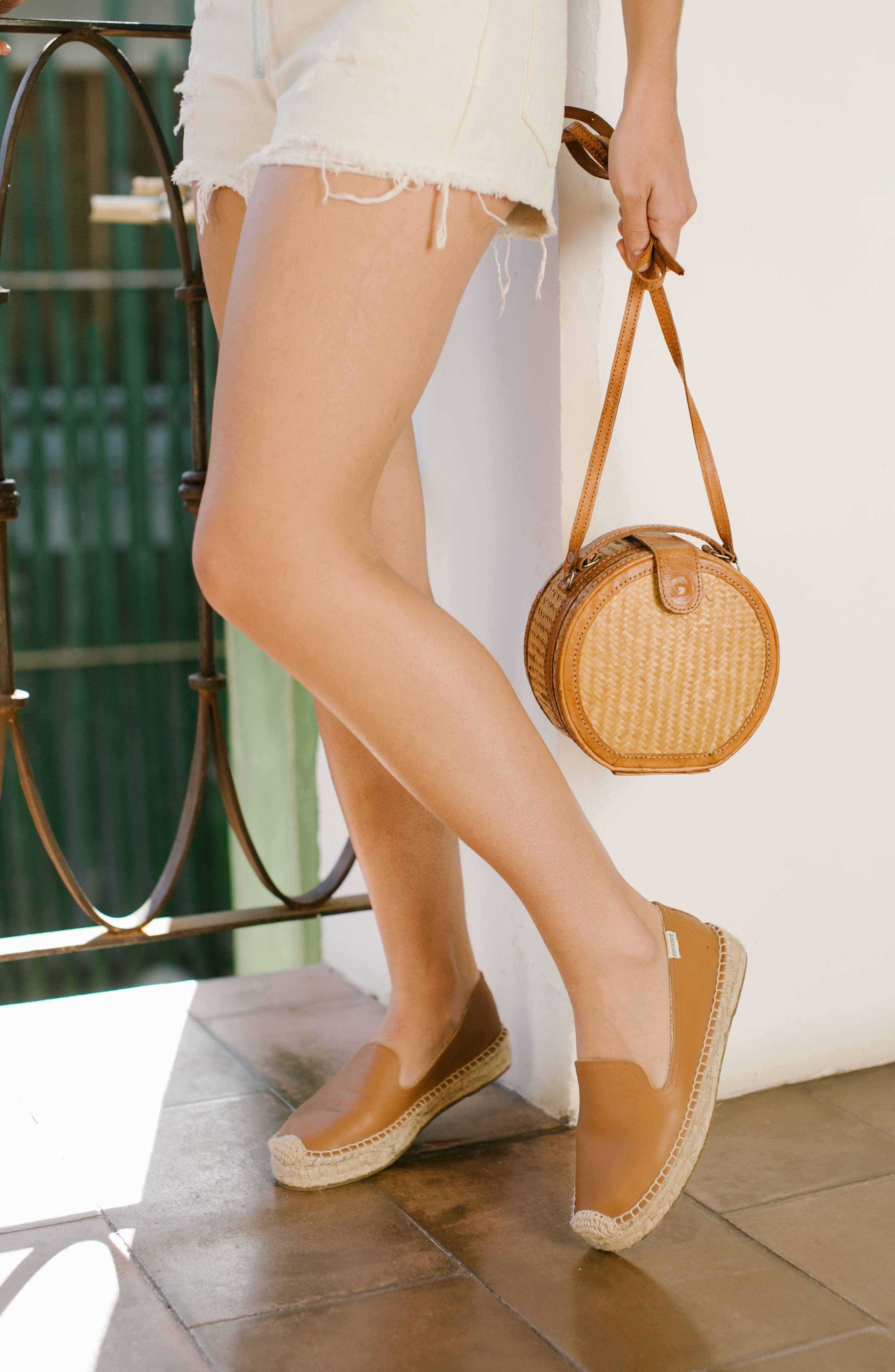 SOLUDOS, 'Smoking' Espadrille Platform Shoe, Alternate thumbnail 8, color, TAN LEATHER