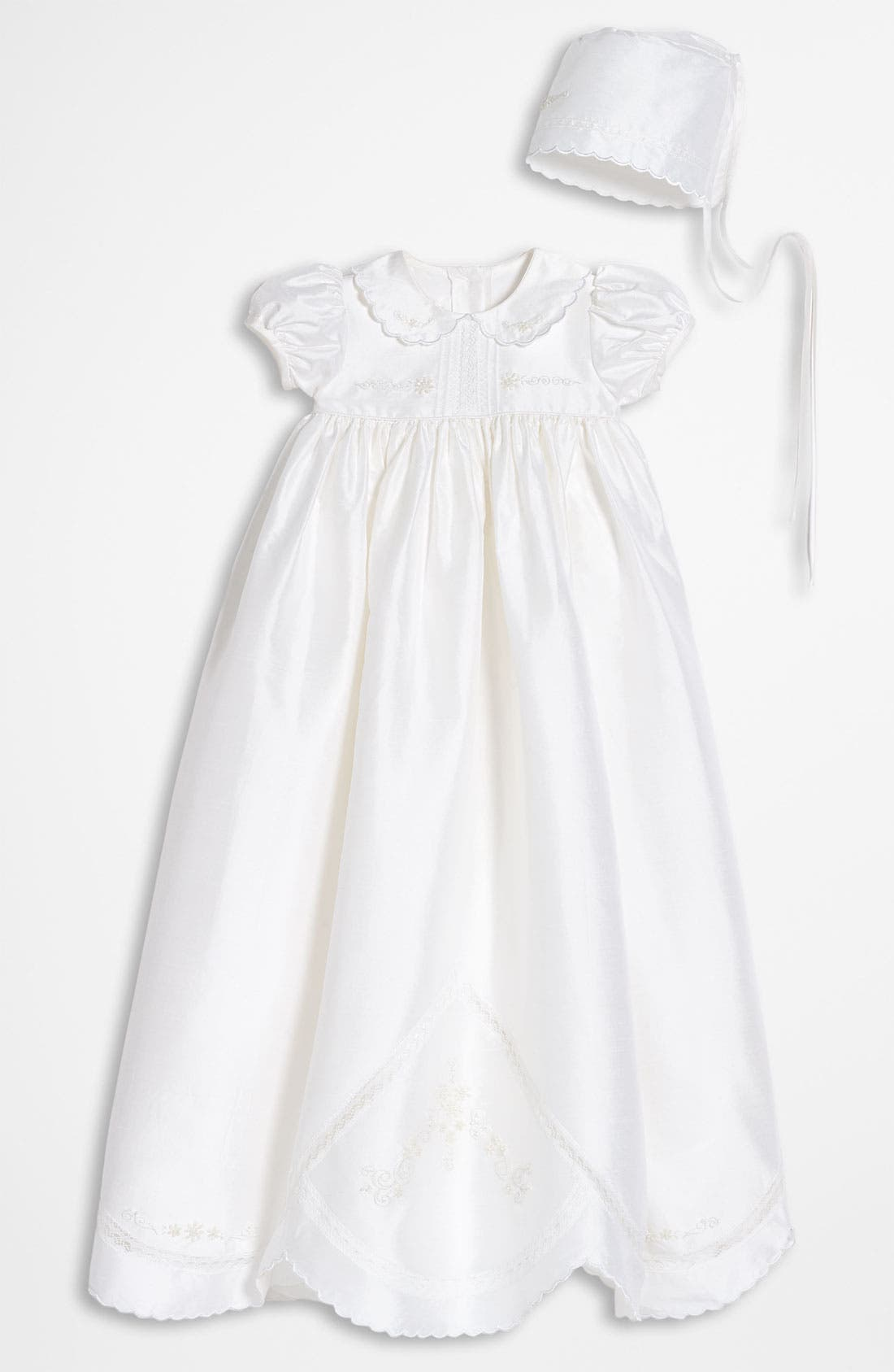 LITTLE THINGS MEAN A LOT, Dupioni Silk Christening Gown, Main thumbnail 1, color, WHITE