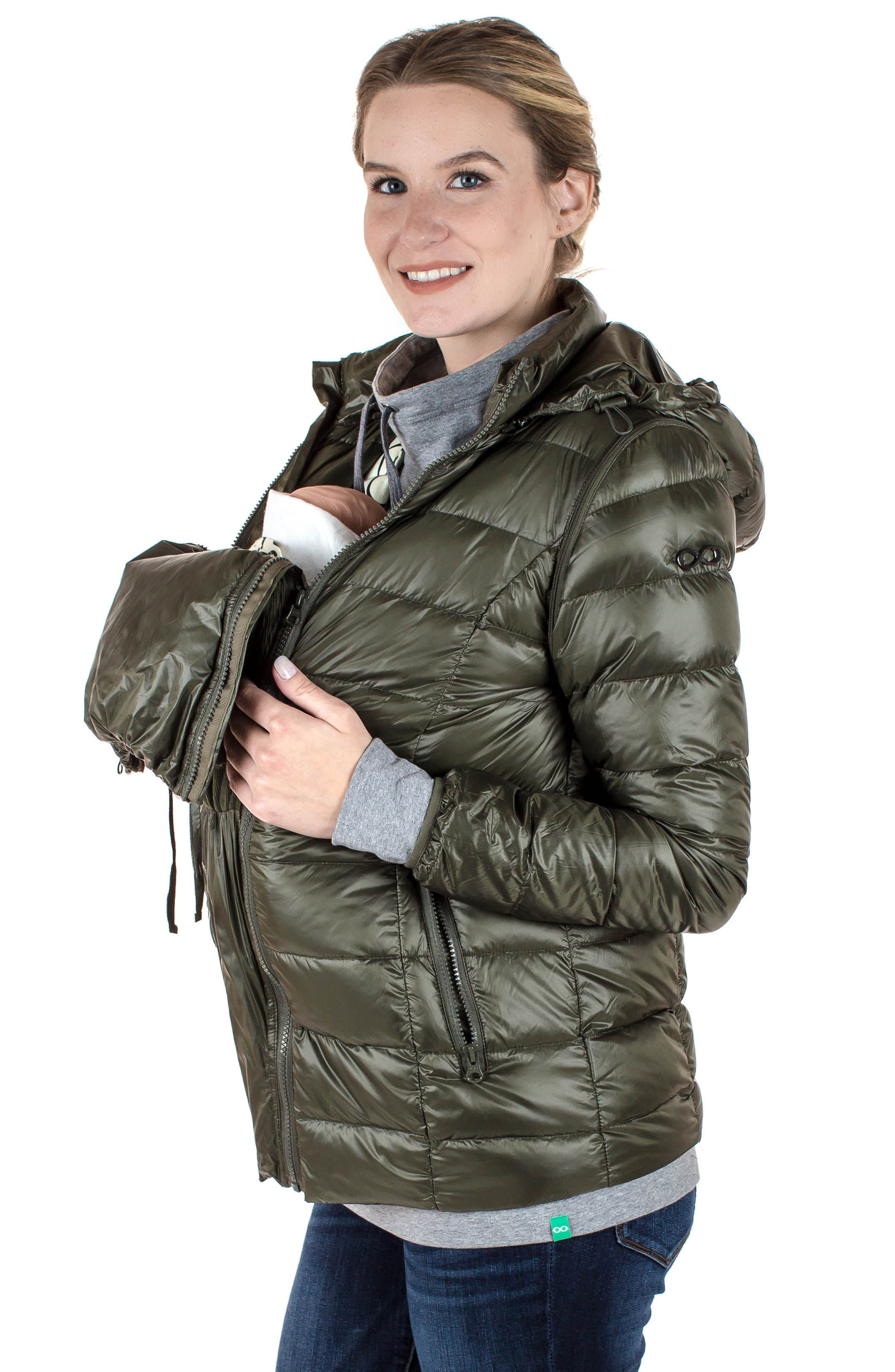 MODERN ETERNITY, Lightweight Puffer Convertible 3-in-1 Maternity Jacket, Alternate thumbnail 12, color, KHAKI GREEN