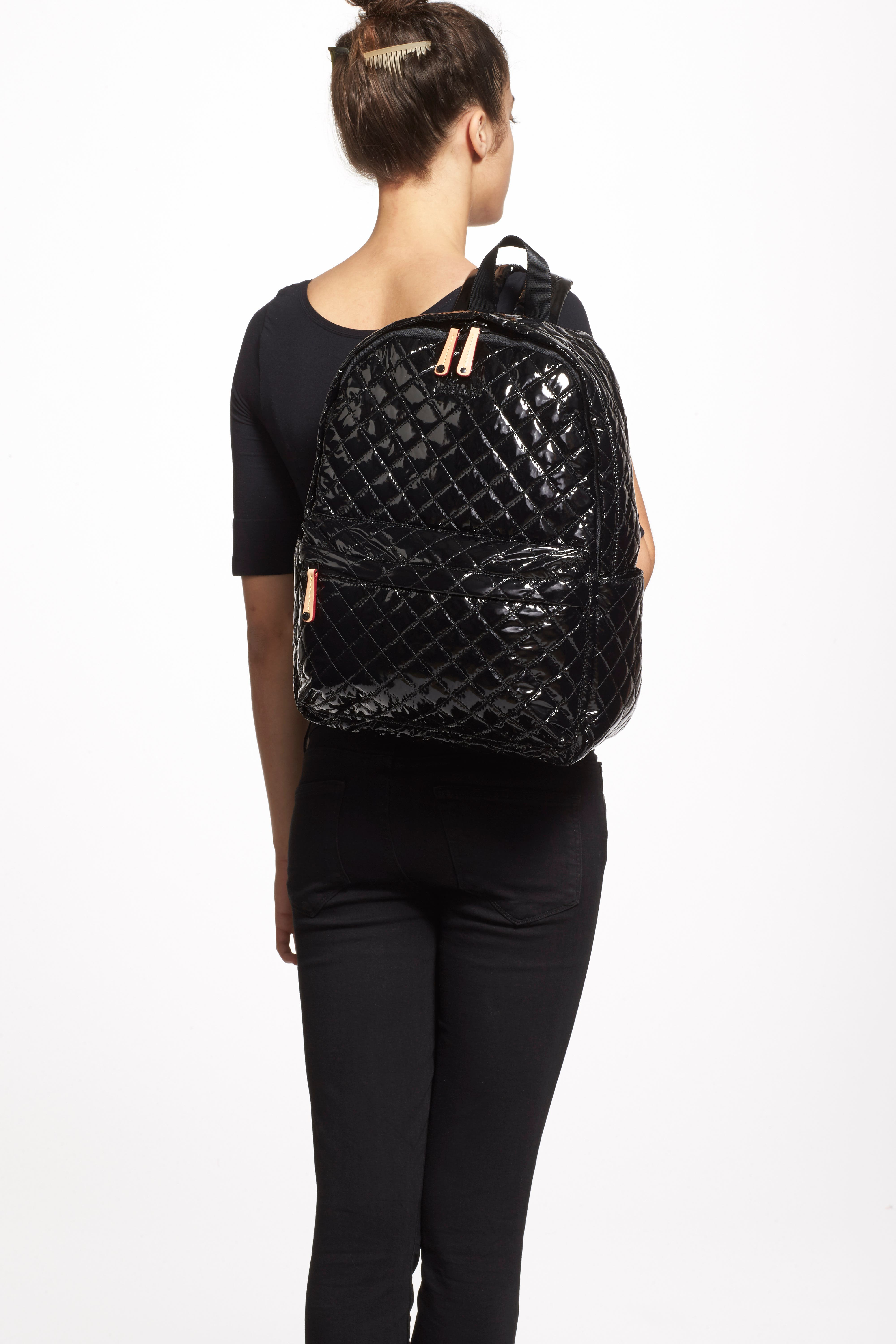 MZ WALLACE, Metro Backpack, Alternate thumbnail 10, color, BLACK LACQUER QUILTED