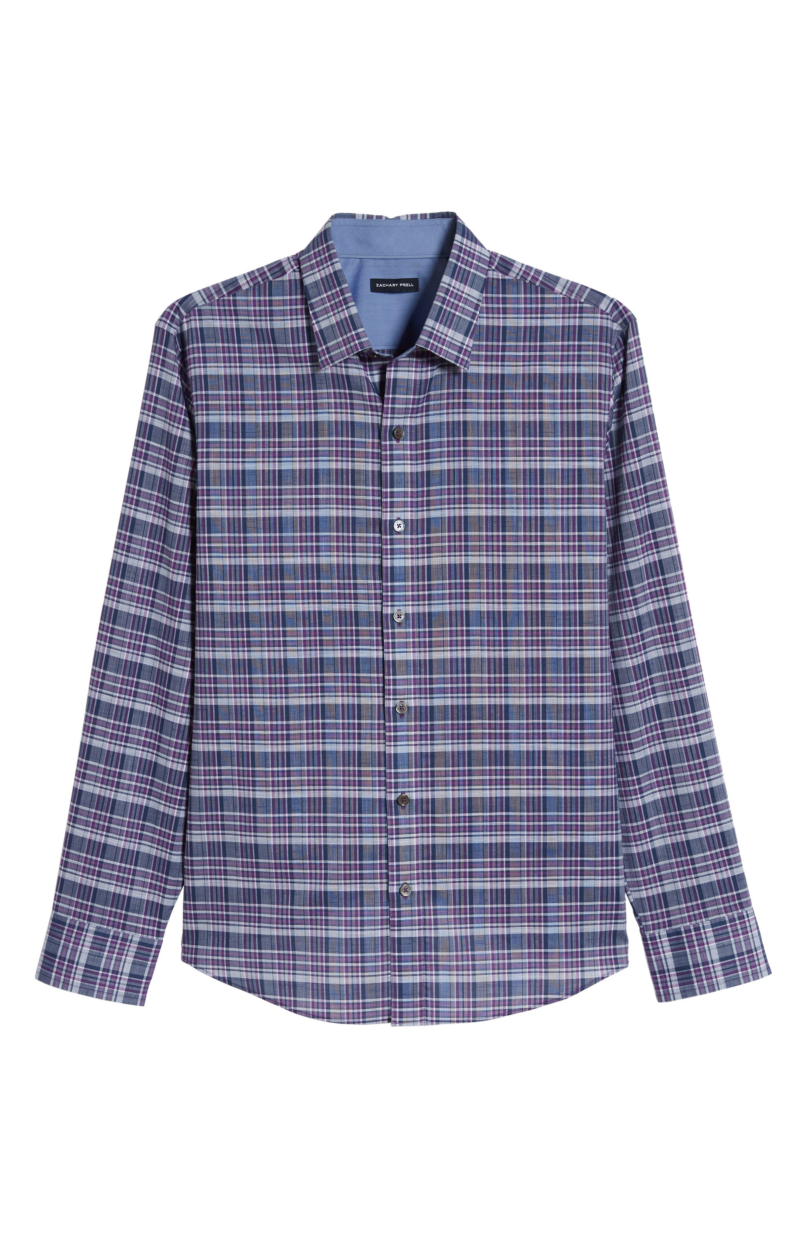 ZACHARY PRELL, Caro Regular Fit Sport Shirt, Alternate thumbnail 5, color, PURPLE