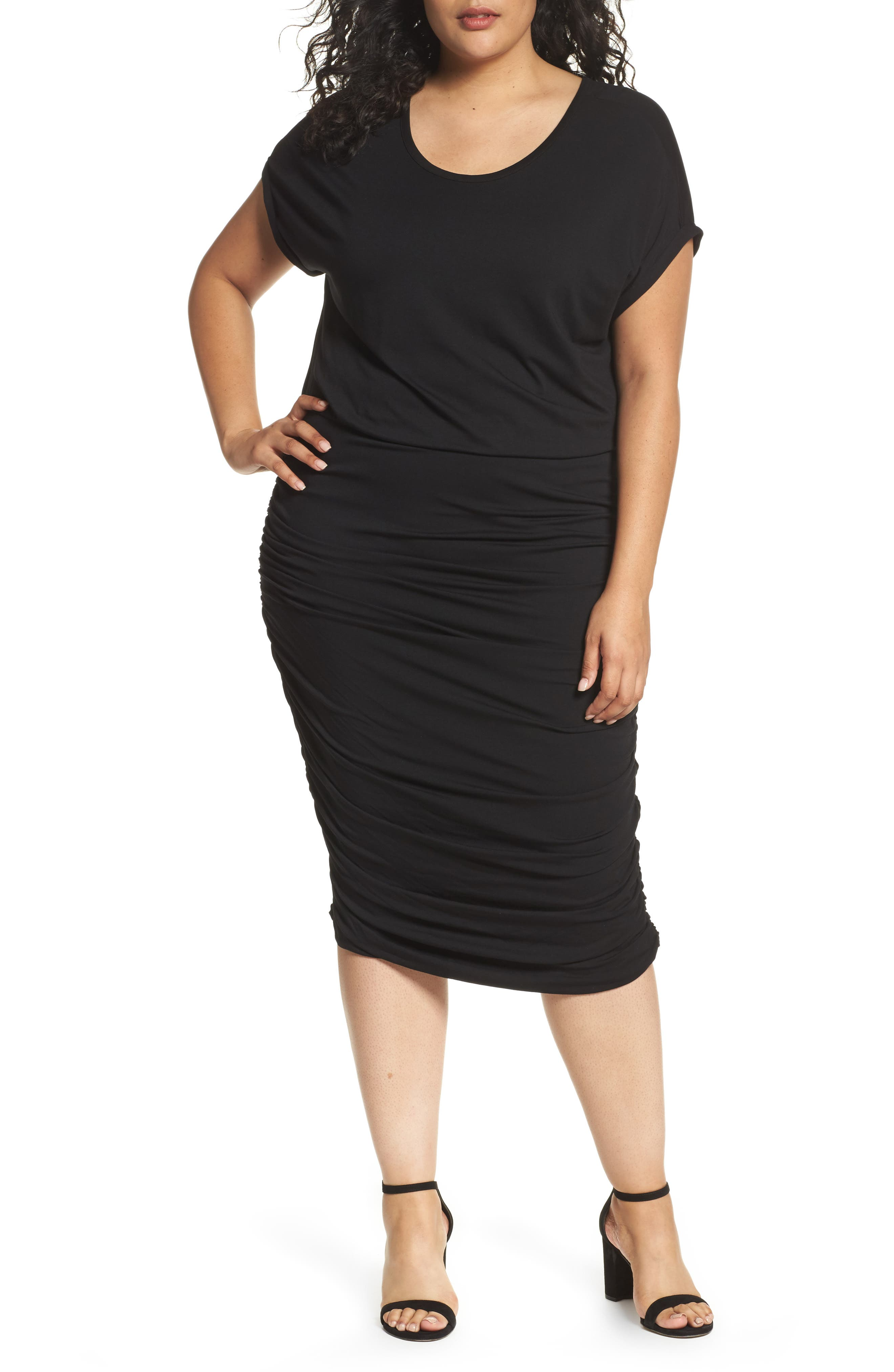 VINCE CAMUTO, Side Ruched Jersey Midi Dress, Main thumbnail 1, color, 001