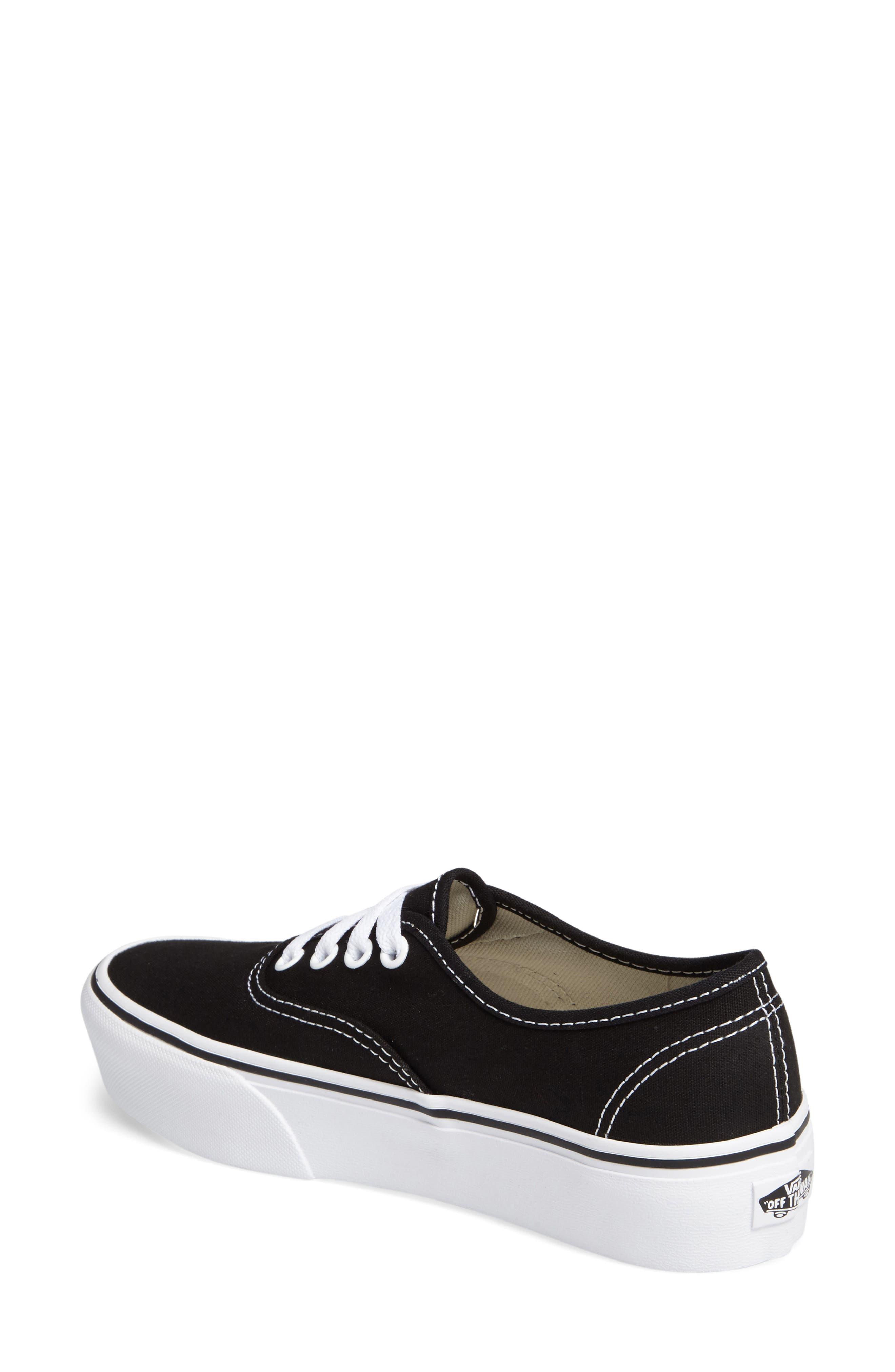 VANS, 'Authentic' Platform Sneaker, Alternate thumbnail 2, color, BLACK/ WHITE