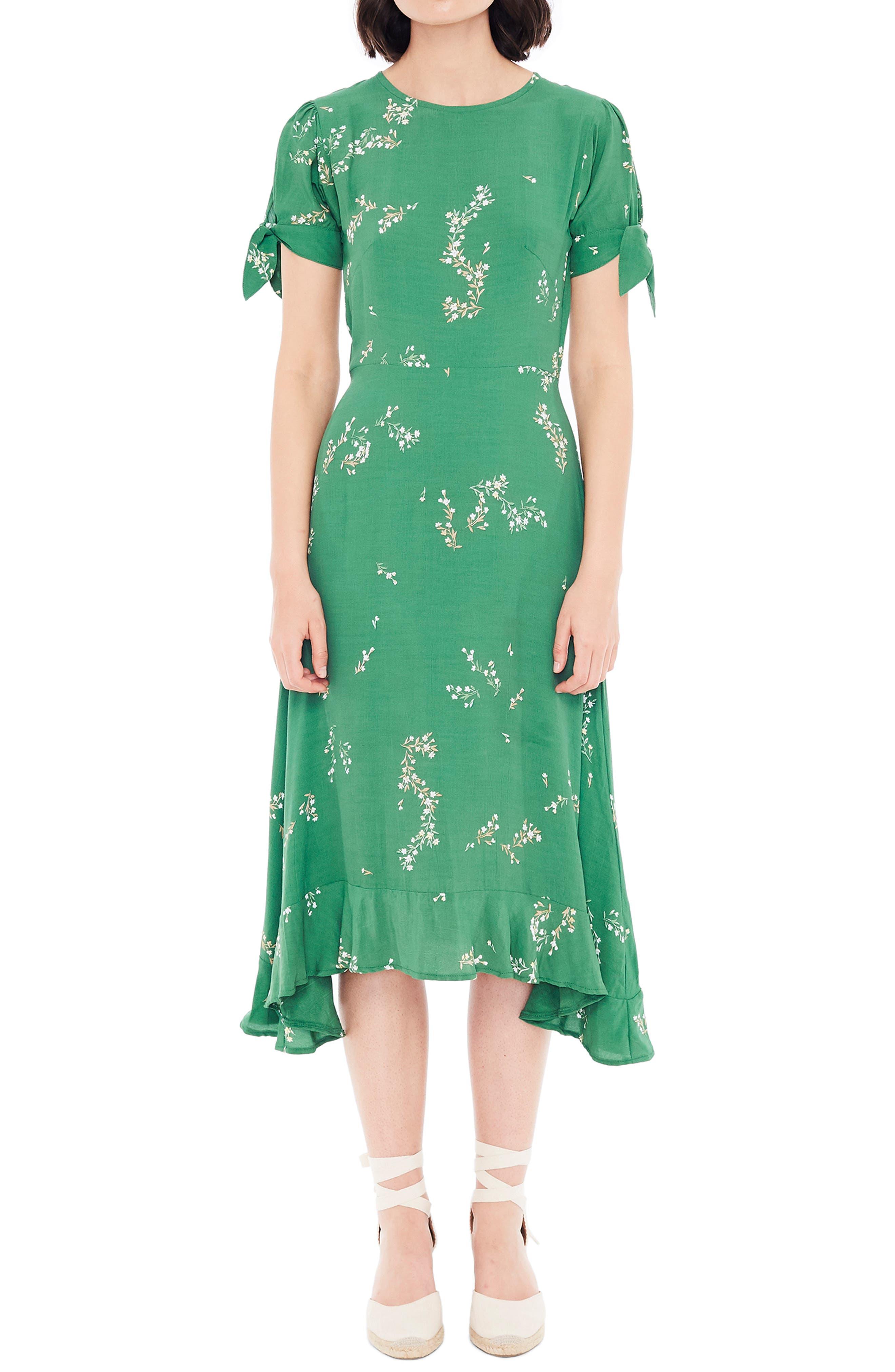 FAITHFULL THE BRAND, Emilia Floral Midi Dress, Alternate thumbnail 6, color, MYRTILLE FLORAL PRINT - GREEN