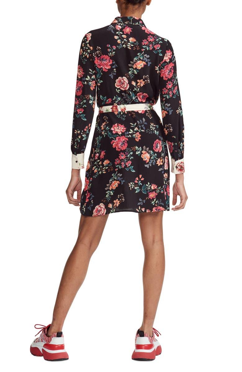 3075726698b Maje Riller Two-Tone Floral Print Shirtdress In Printed