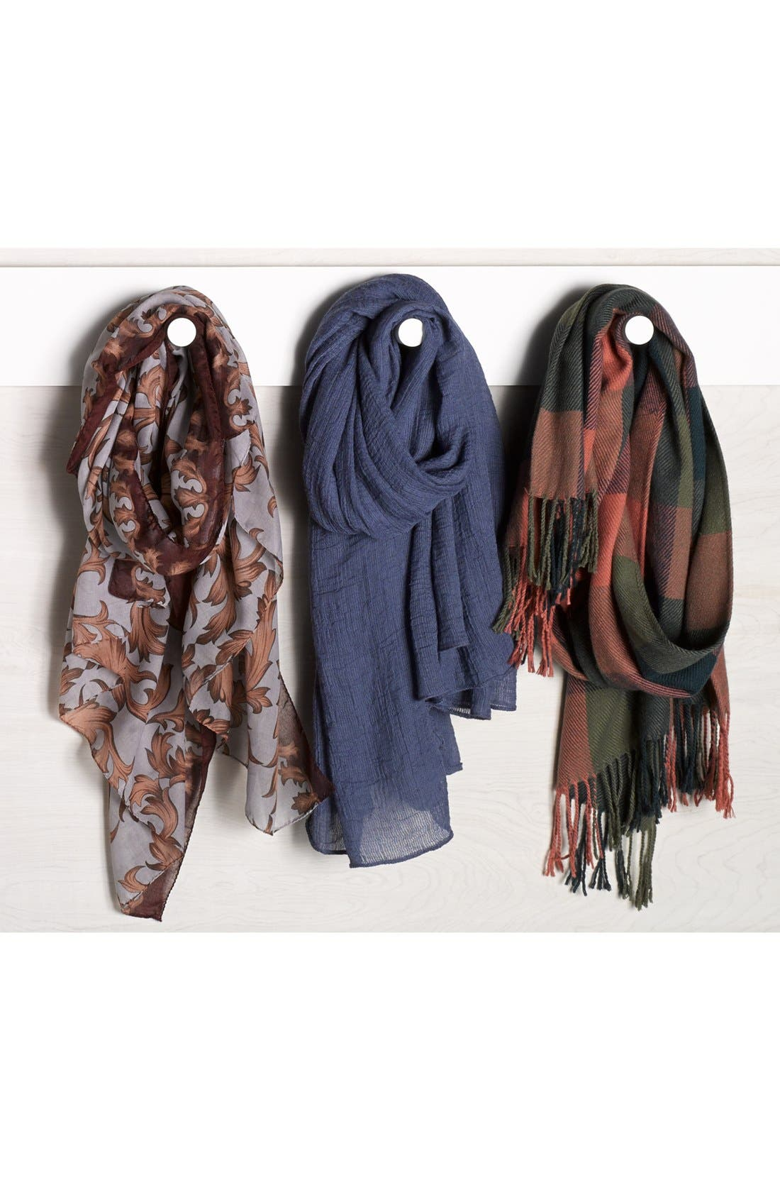 RENÉE'S ACCESSORIES, Renee's Accessories Plaid Fringe Scarf, Alternate thumbnail 3, color, 400