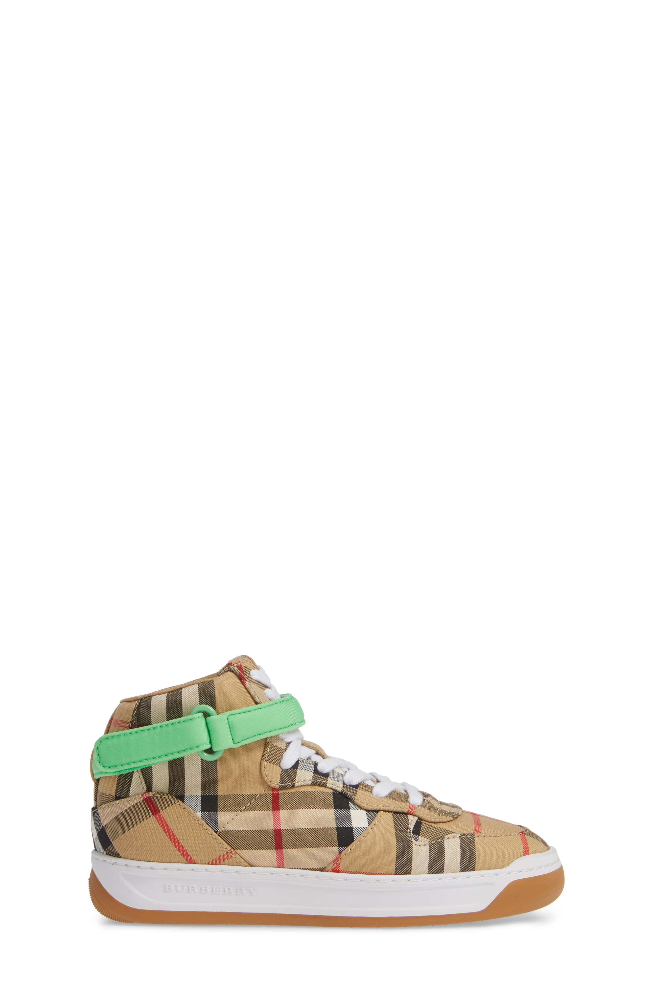 BURBERRY, Groves High Top Sneaker, Alternate thumbnail 3, color, NEON GREEN
