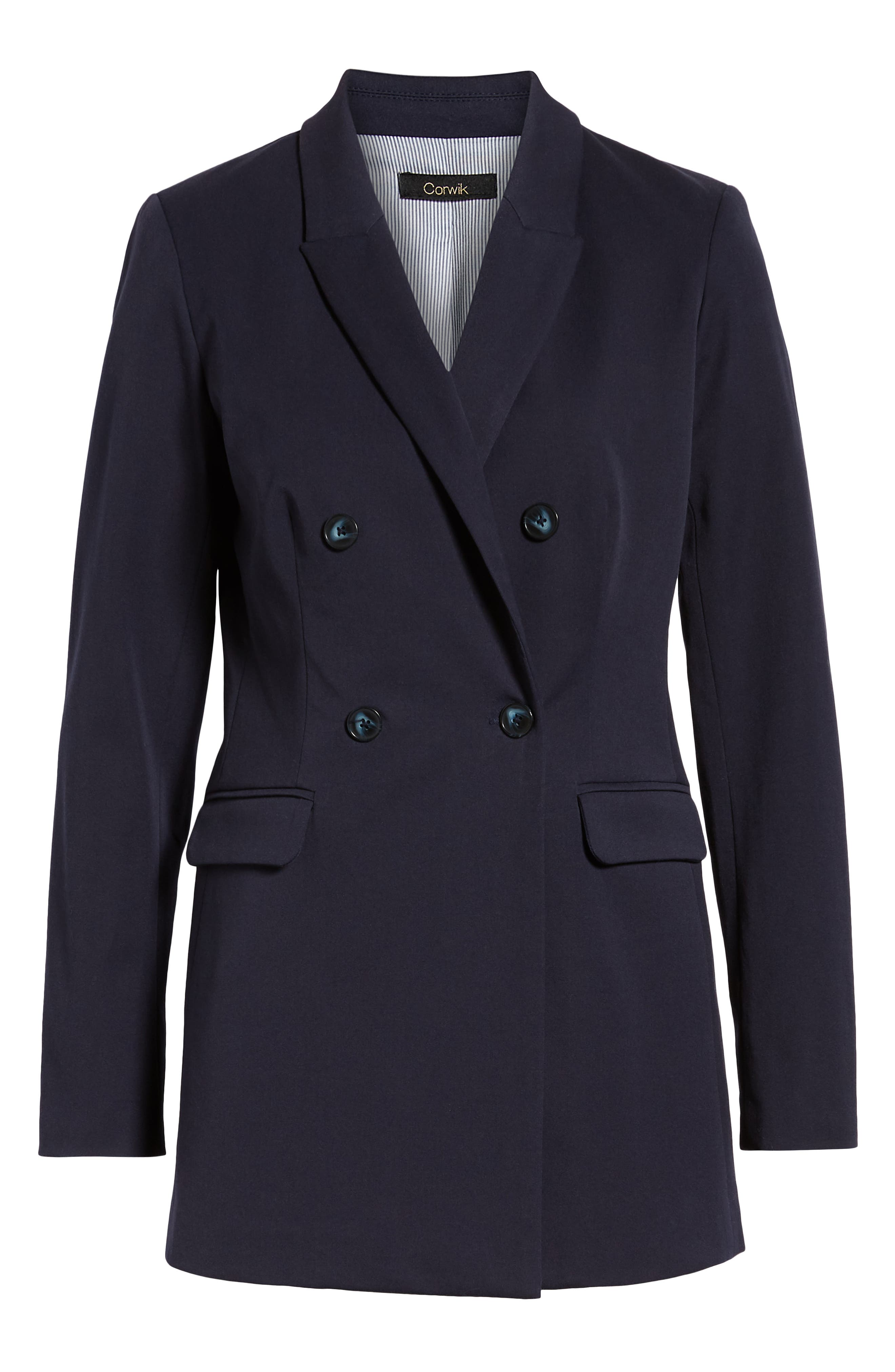 1901, Double Breasted Blazer, Alternate thumbnail 5, color, NAVY NIGHT