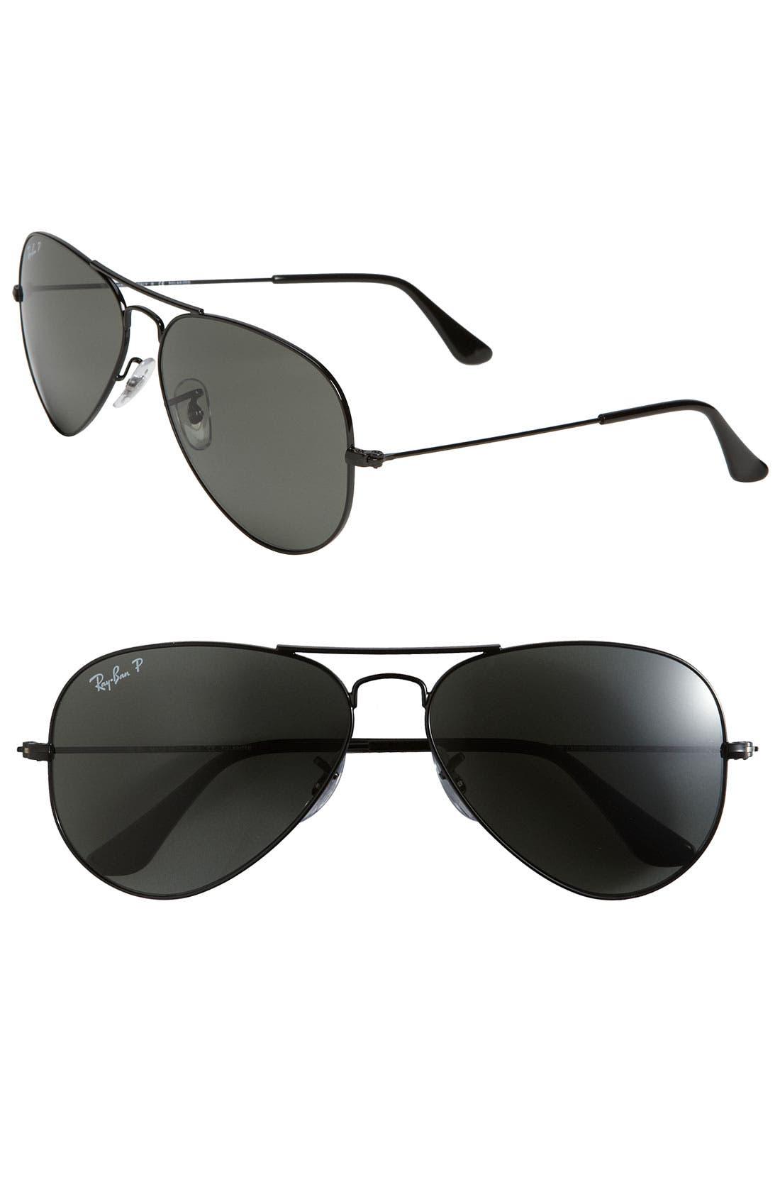 RAY-BAN, 'Polarized Original Aviator' 58mm Sunglasses, Main thumbnail 1, color, BLACK/ GREEN P