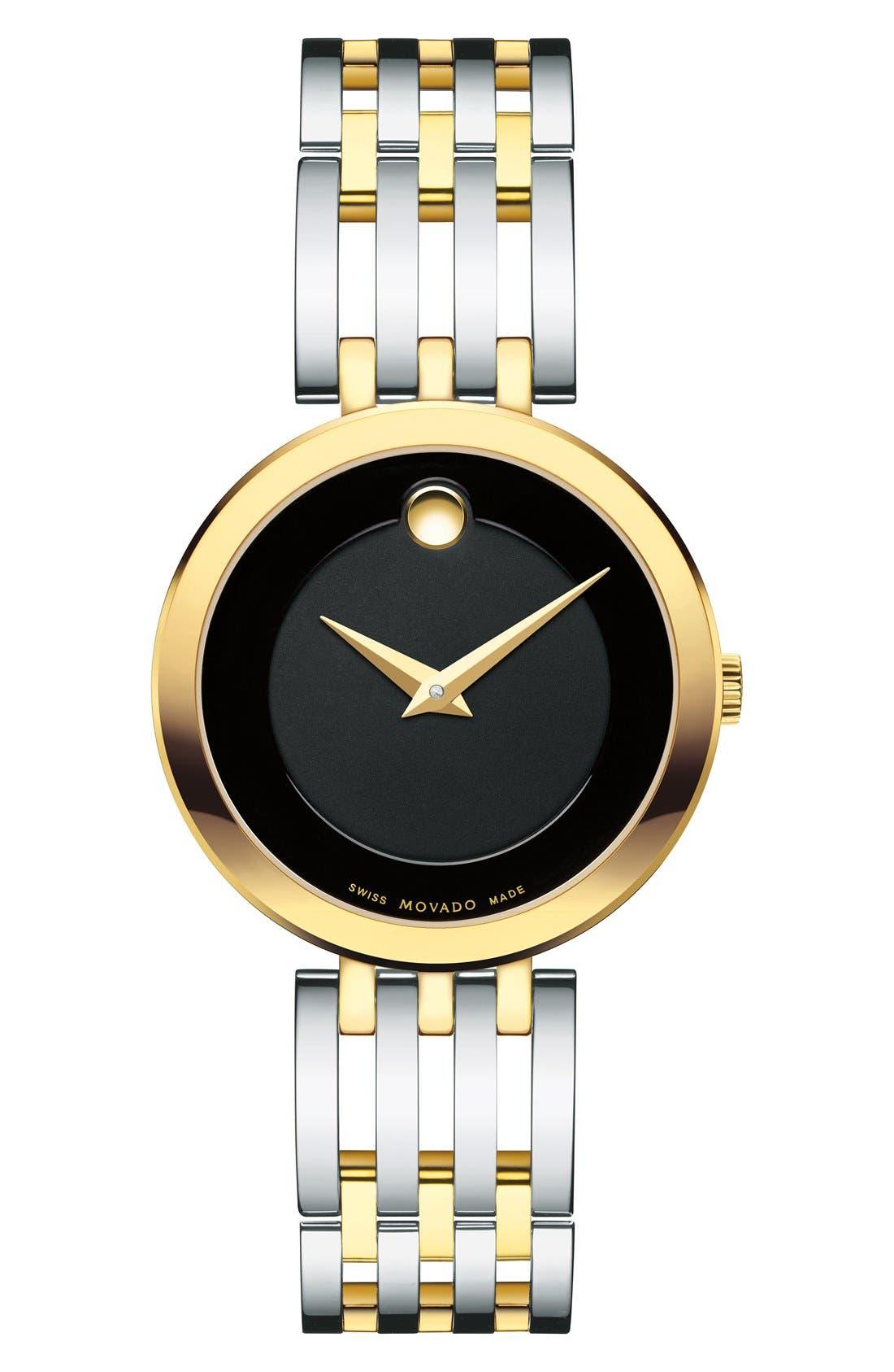 MOVADO, 'Esperanza' Bracelet Watch, 28mm, Main thumbnail 1, color, SILVER/ BLACK/ GOLD