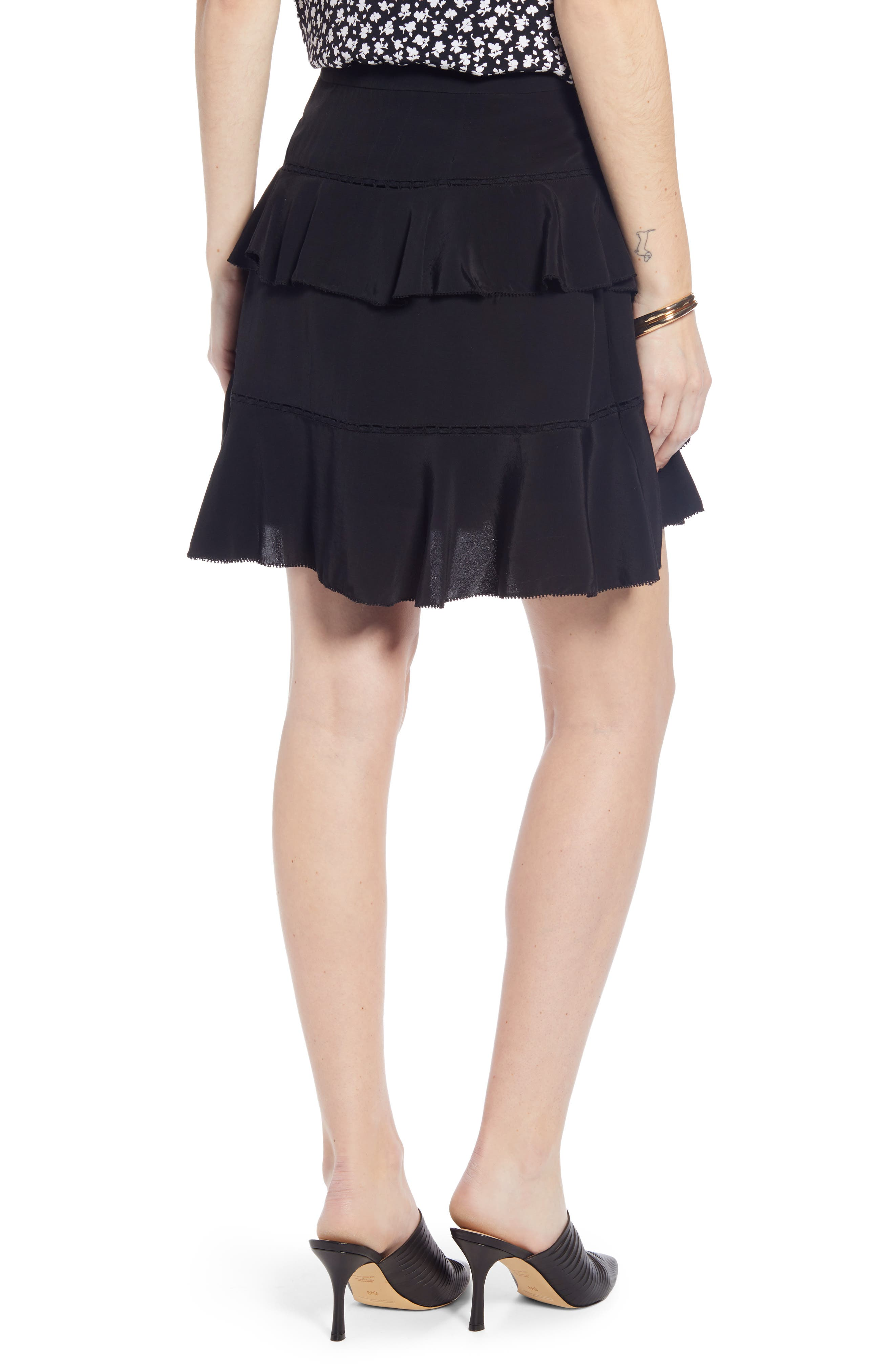 SOMETHING NAVY, Tiered Ruffle High/Low Miniskirt, Alternate thumbnail 4, color, BLACK