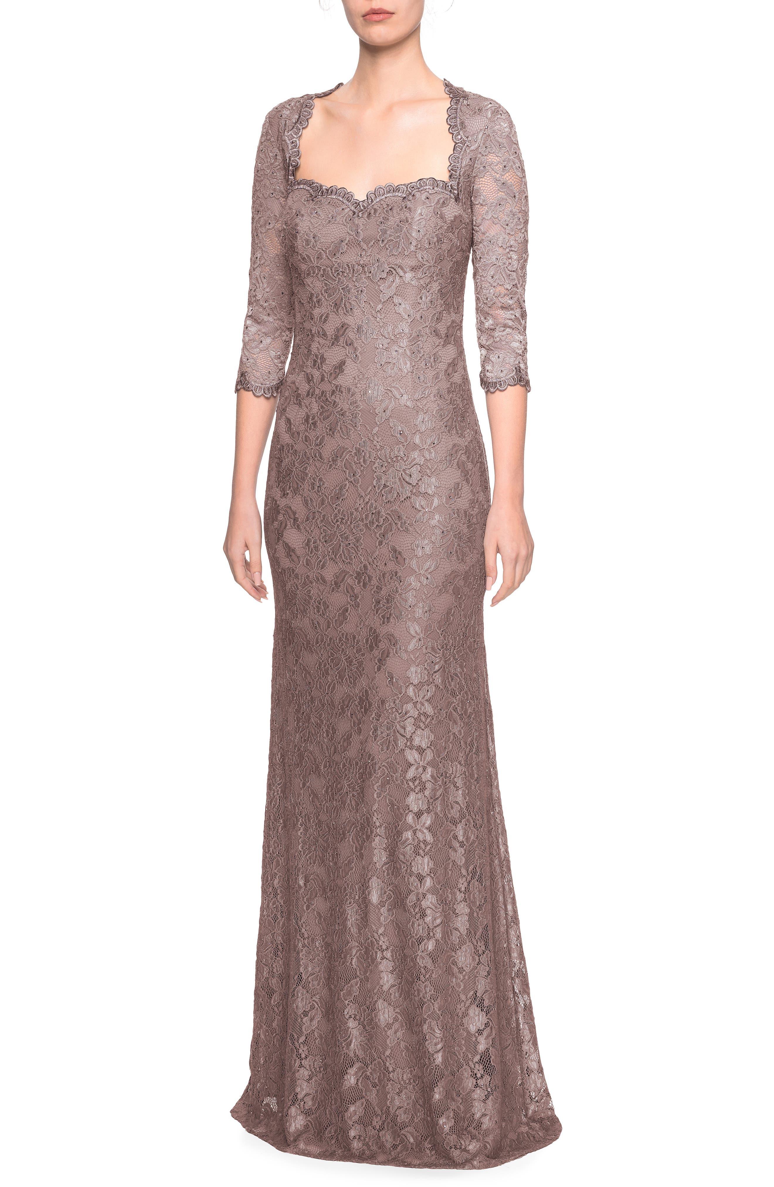 La Femme Lace Column Gown, Brown
