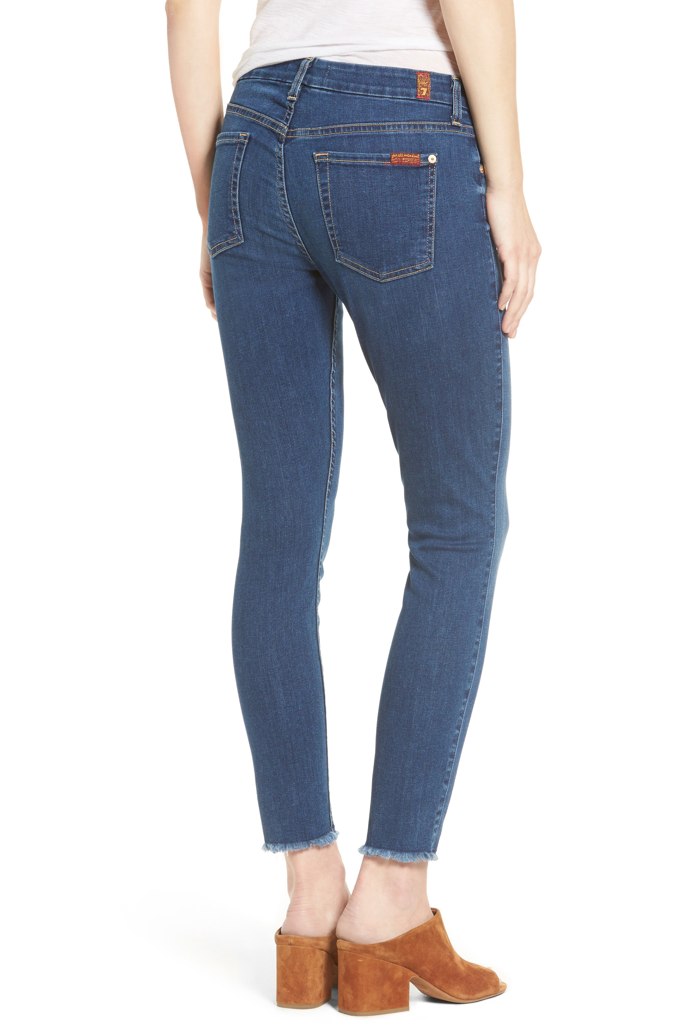 7 FOR ALL MANKIND<SUP>®</SUP>, b(air) Raw Hem Ankle Skinny Jeans, Alternate thumbnail 2, color, BAIR REIGN