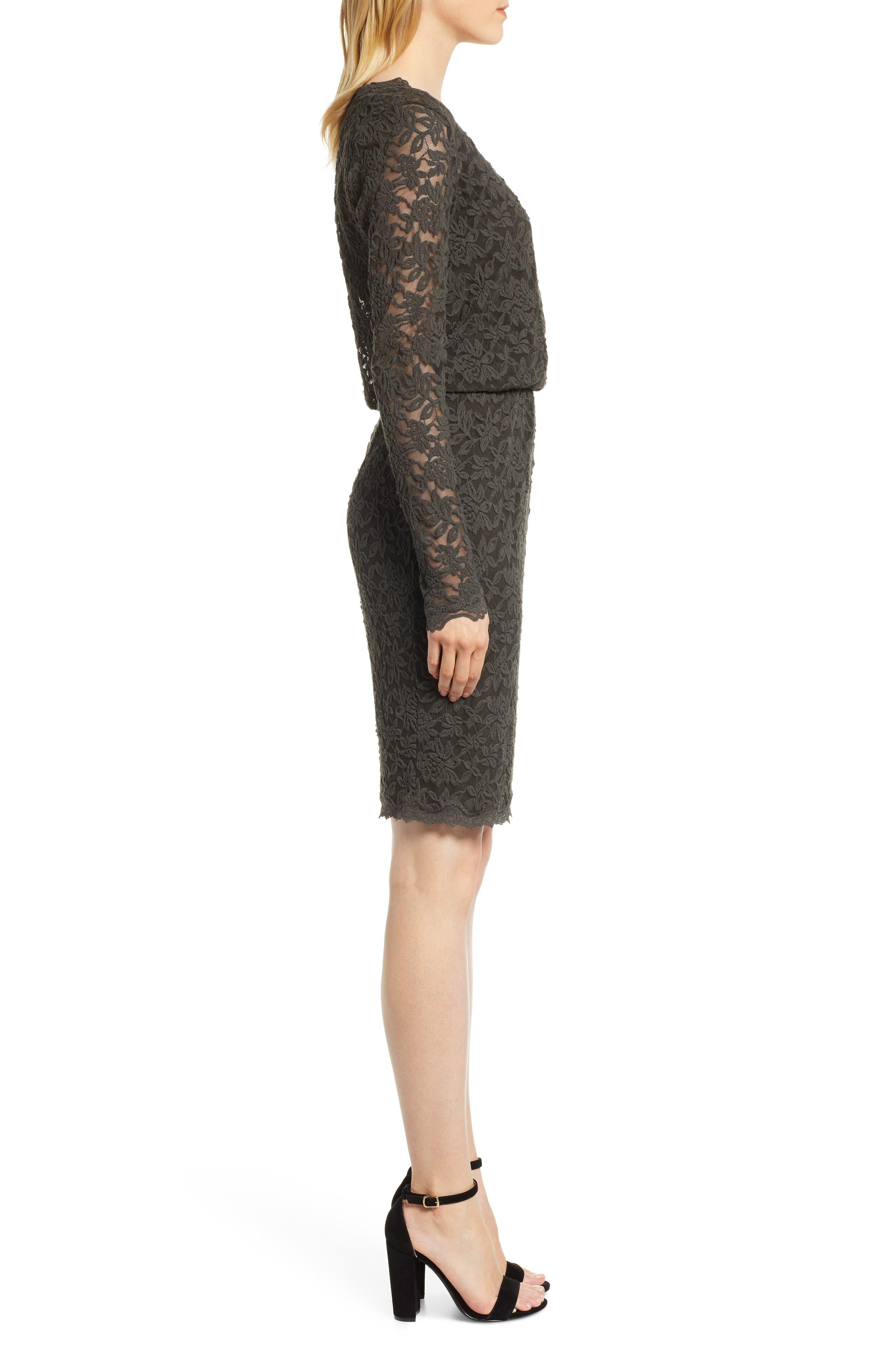 ROSEMUNDE, Delicia Scallop Detail Cotton Blend Lace Dress, Alternate thumbnail 4, color, DARK FOREST