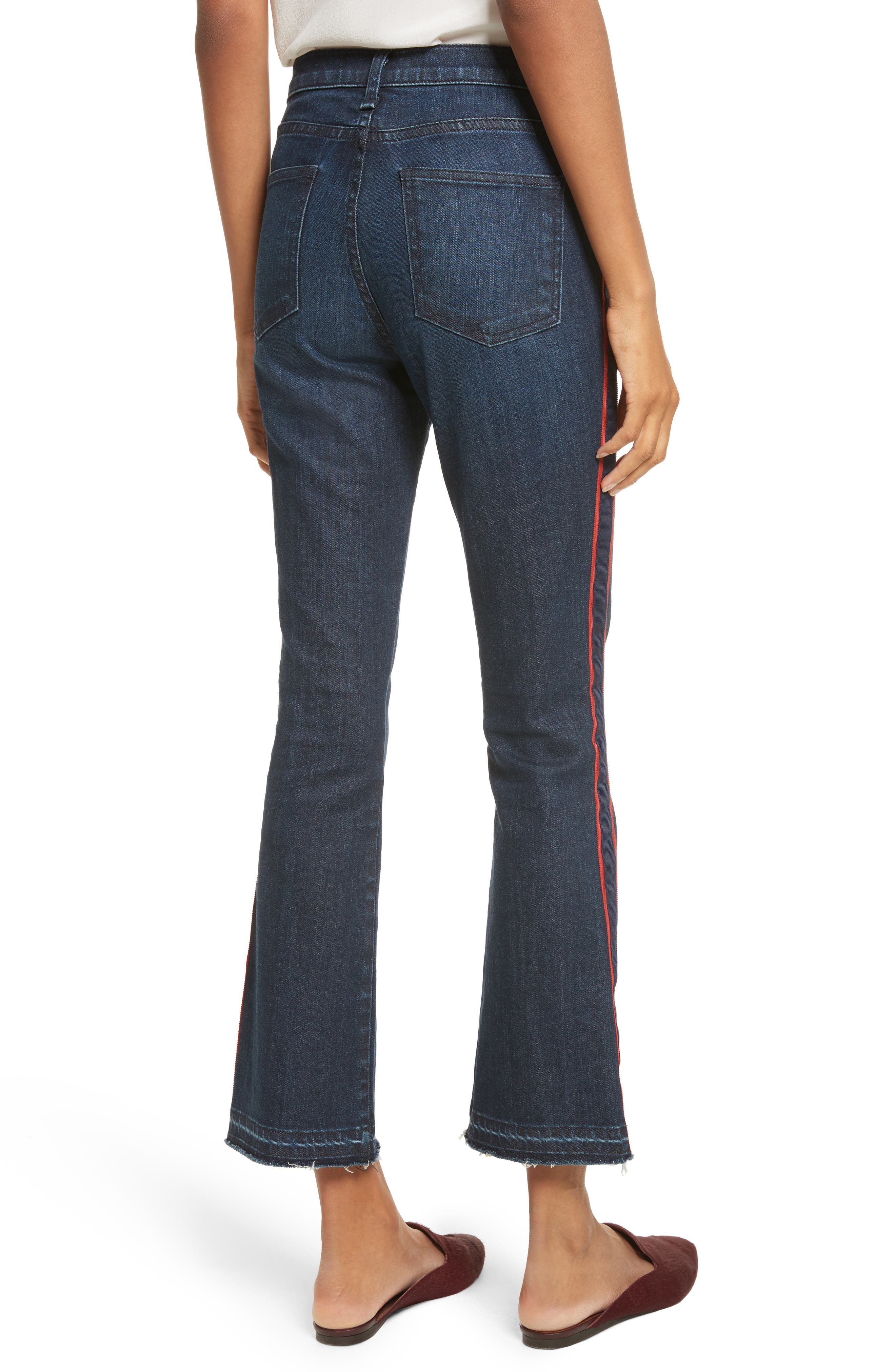 VERONICA BEARD, Carolyn Tuxedo Stripe Baby Boot Crop Jeans, Alternate thumbnail 2, color, MIDNIGHT FRAY/ RED