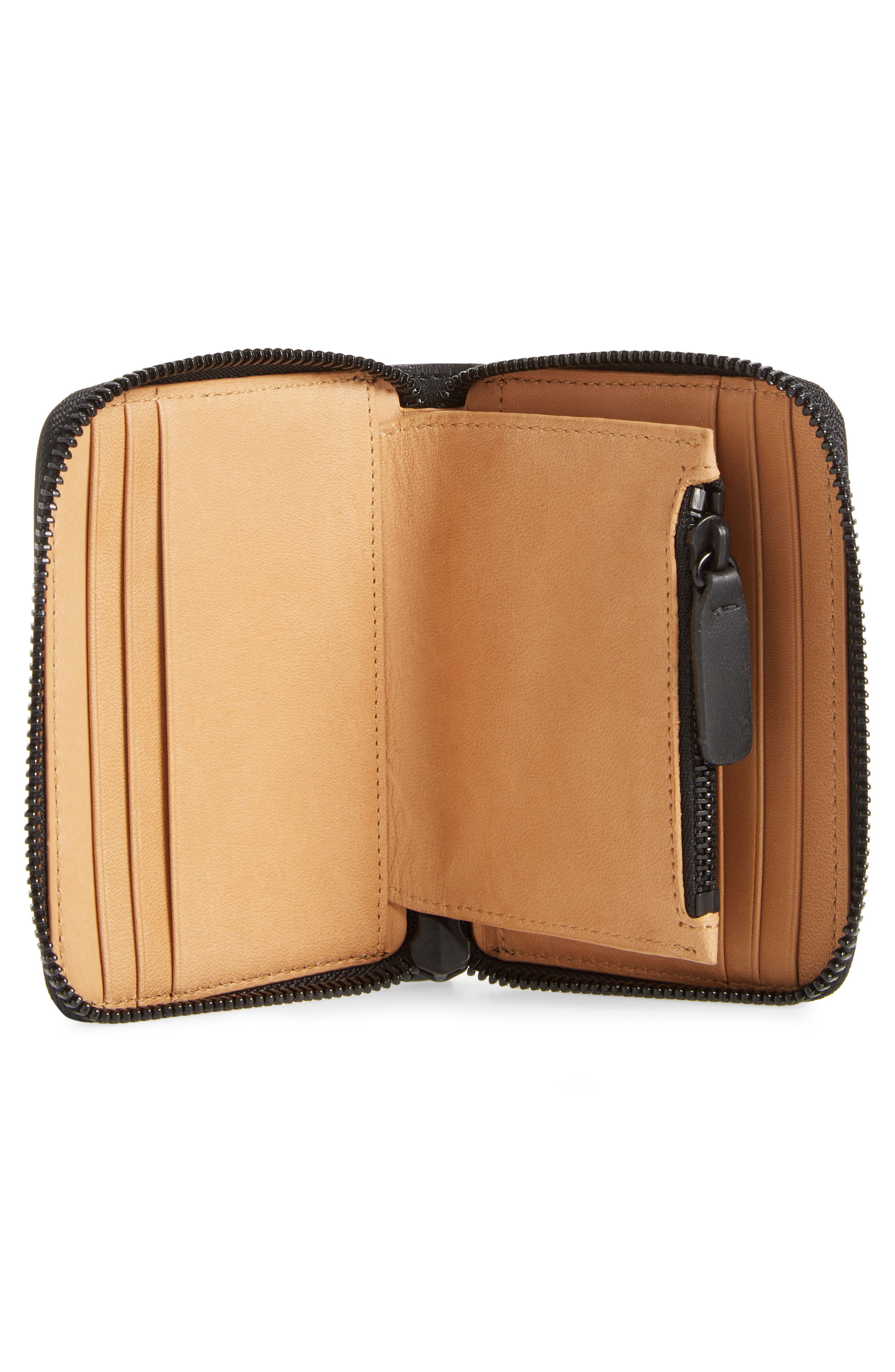 COMMON PROJECTS, Leather Coin Case, Alternate thumbnail 2, color, 001