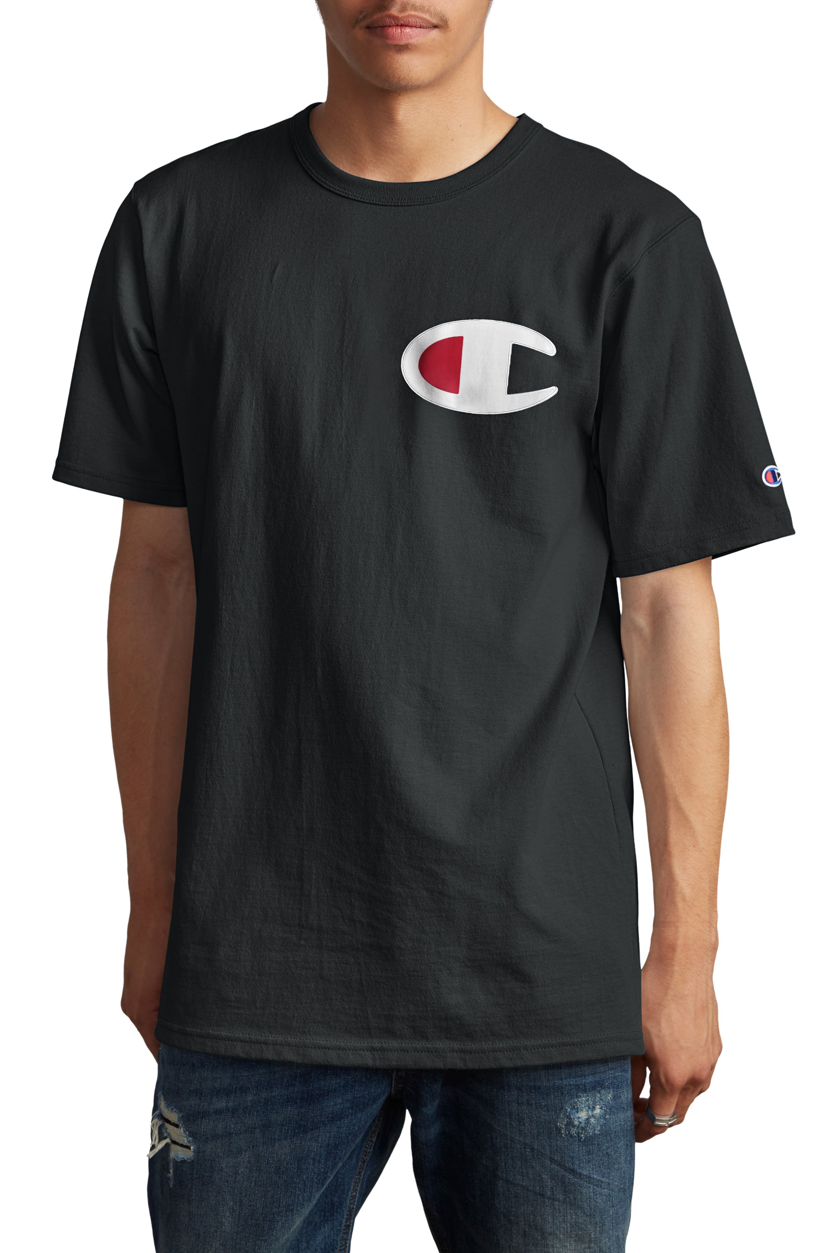 CHAMPION Elevated C-Patch T-Shirt, Main, color, BLACK