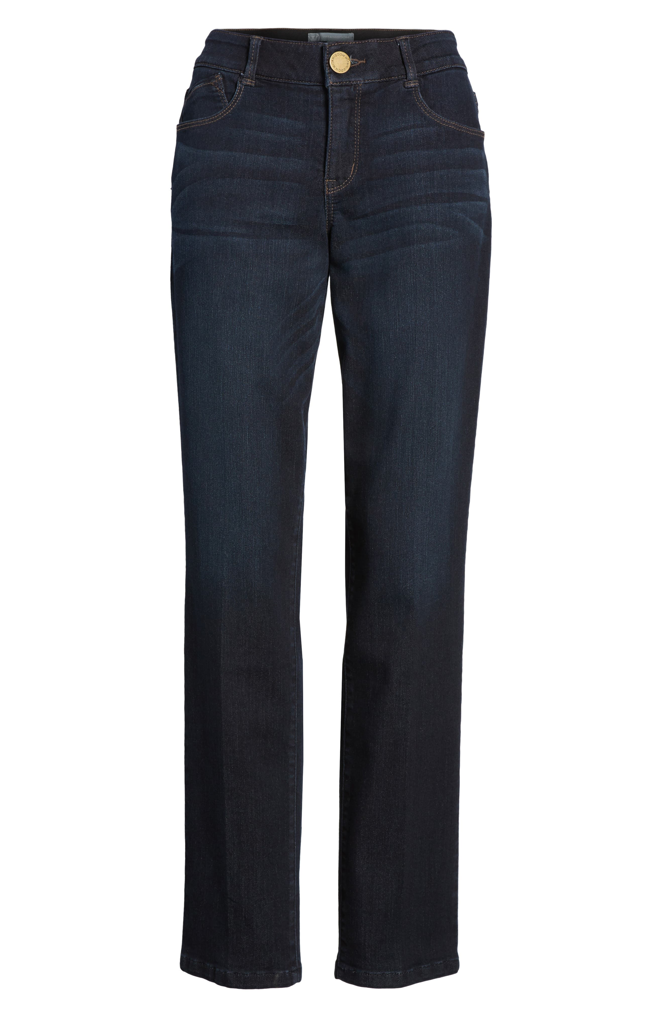 WIT & WISDOM, Ab-solution Straight Leg Jeans, Alternate thumbnail 7, color, INDIGO