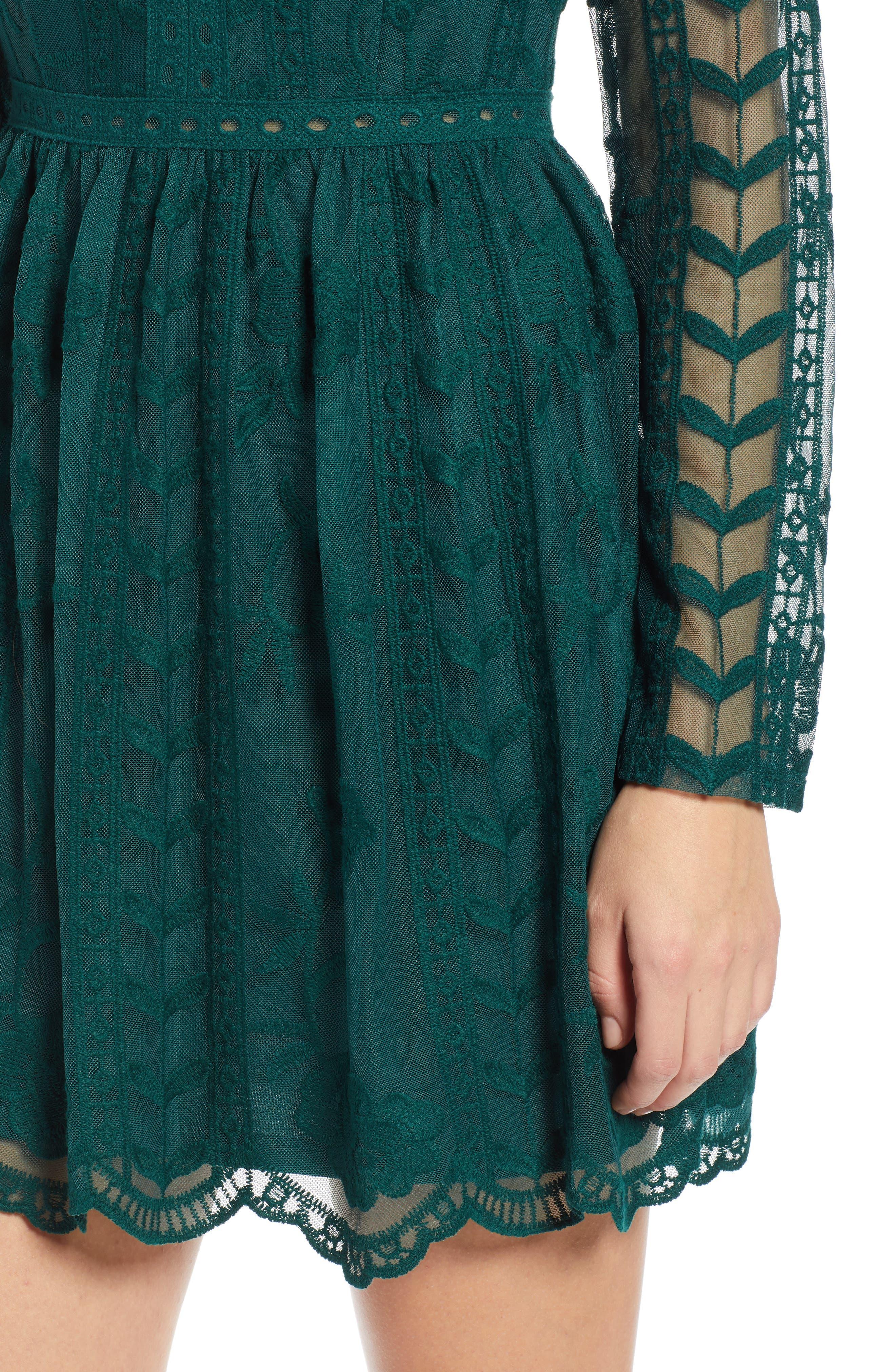 SOCIALITE, Long Sleeve V-Neck Lace Dress, Alternate thumbnail 5, color, 300