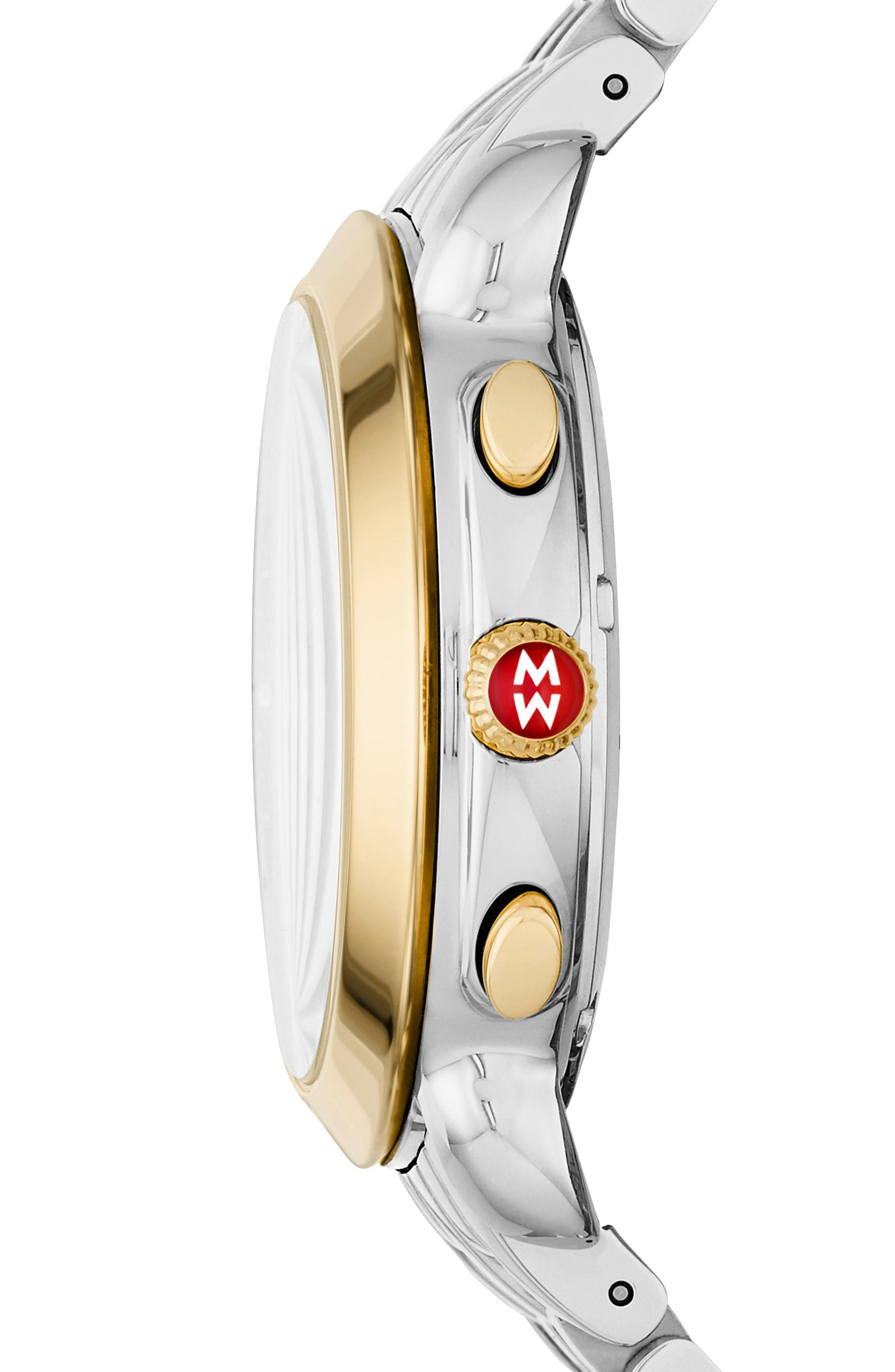 MICHELE, Sidney Chronograph Diamond Watch Head, 38mm, Alternate thumbnail 4, color, GOLD/ MOP/ SILVER