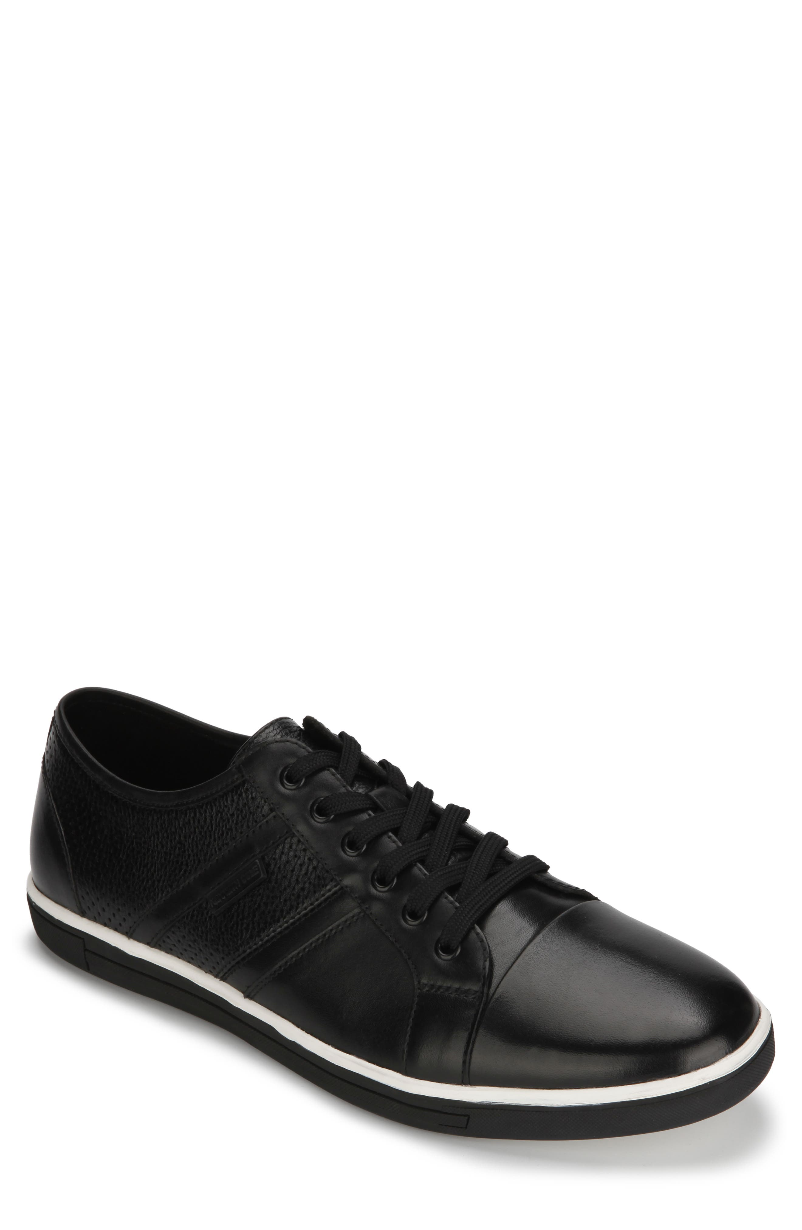 KENNETH COLE NEW YORK, Initial Step Sneaker, Main thumbnail 1, color, BLACK LEATHER