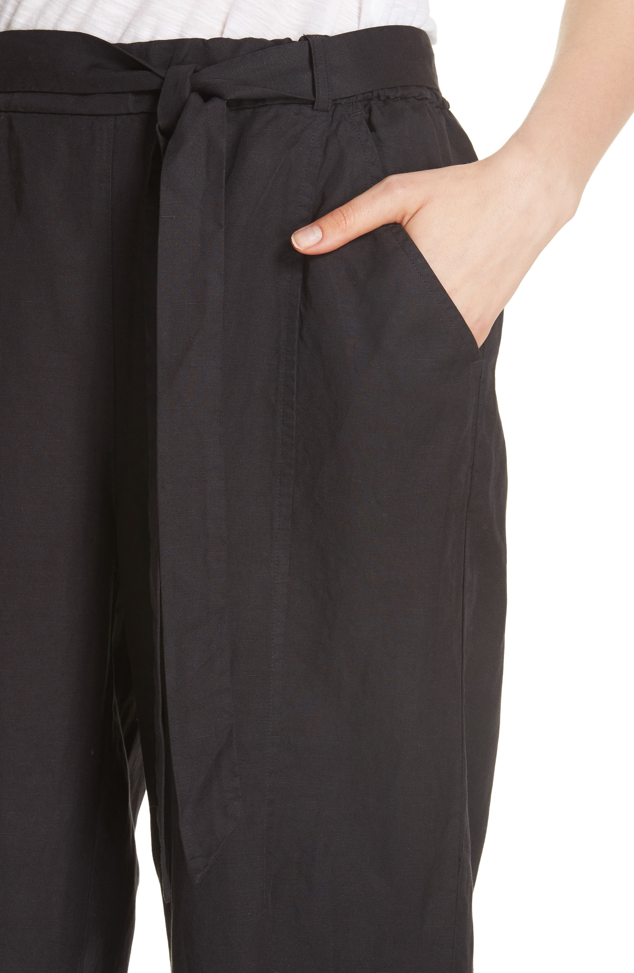 EILEEN FISHER, Lantern Twill Ankle Pants, Alternate thumbnail 5, color, 001