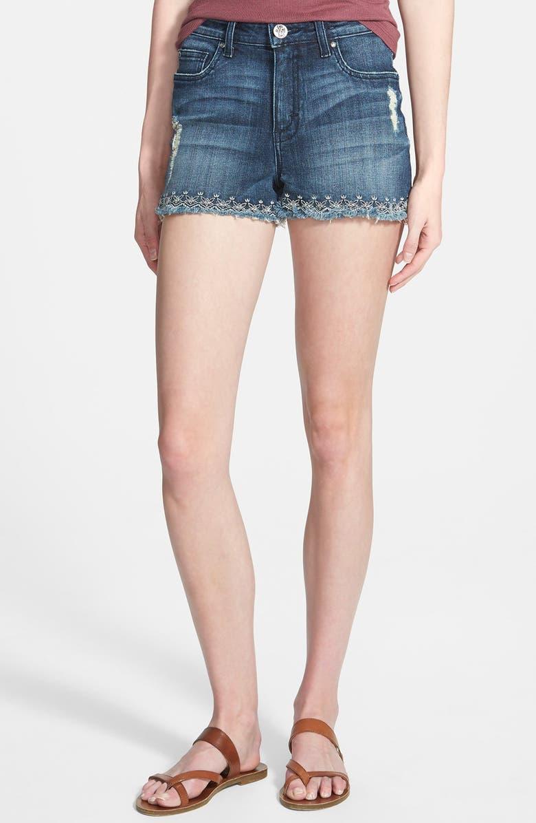 7681d1d178 STS BLUE Embroidered High Waist Denim Cutoff Shorts, Main, color, 400
