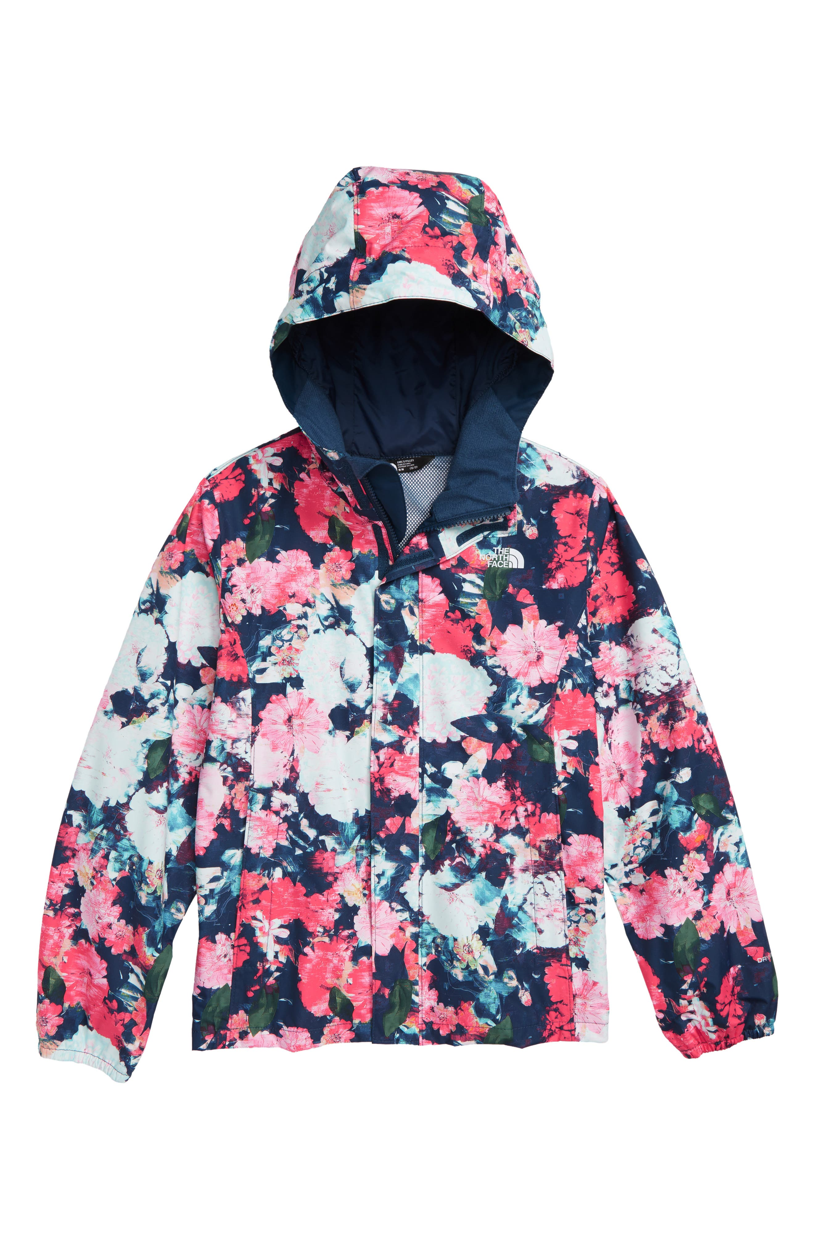 THE NORTH FACE Resolve Reflective Waterproof Jacket, Main, color, ATOMIC PINK DIGI FLORAL PRINT