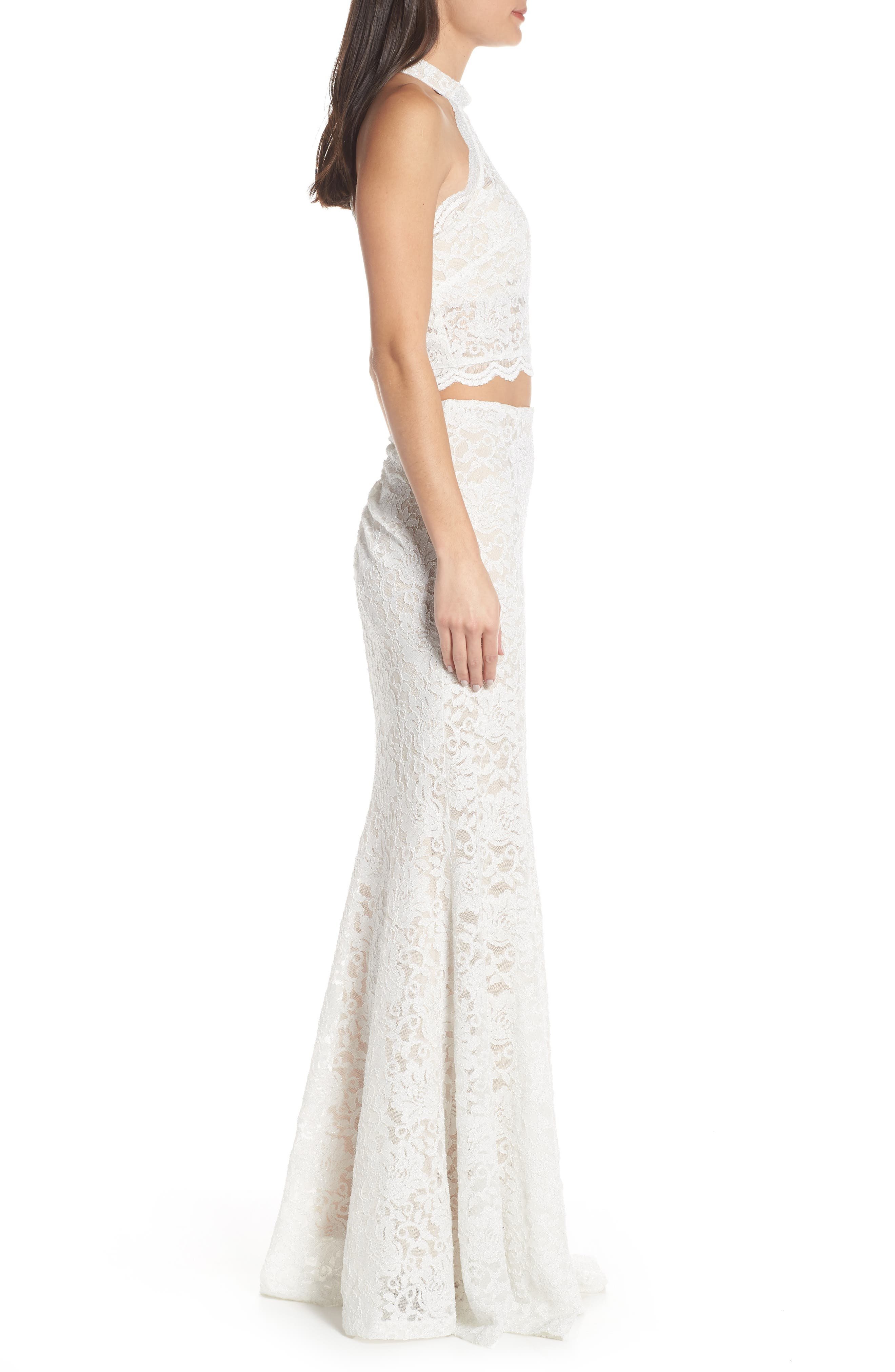 SEQUIN HEARTS, Glitter Lace Two-Piece Gown, Alternate thumbnail 4, color, 250