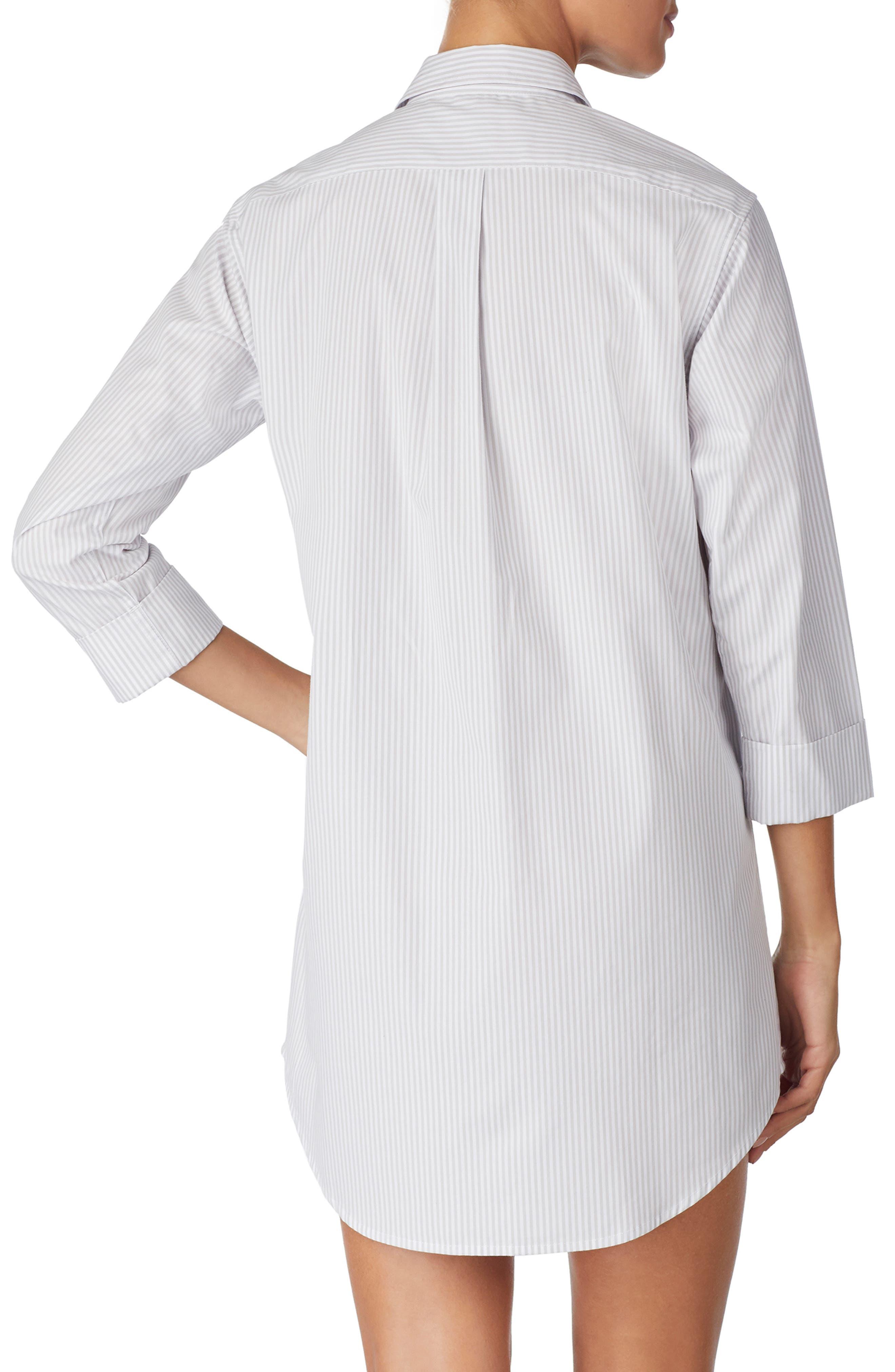 LAUREN RALPH LAUREN, Cotton Poplin Sleep Shirt, Alternate thumbnail 2, color, GREY