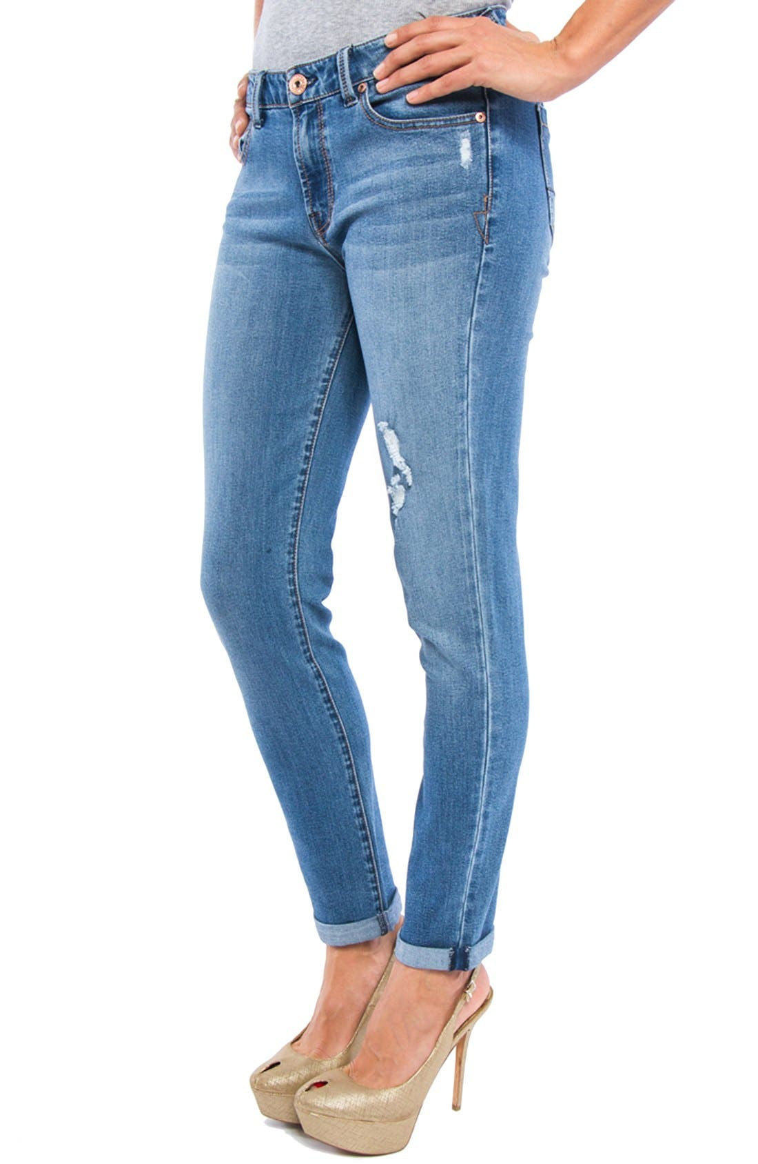 LIVERPOOL, Jeans Company 'Tory' Distressed Girlfriend Jeans, Alternate thumbnail 3, color, 401