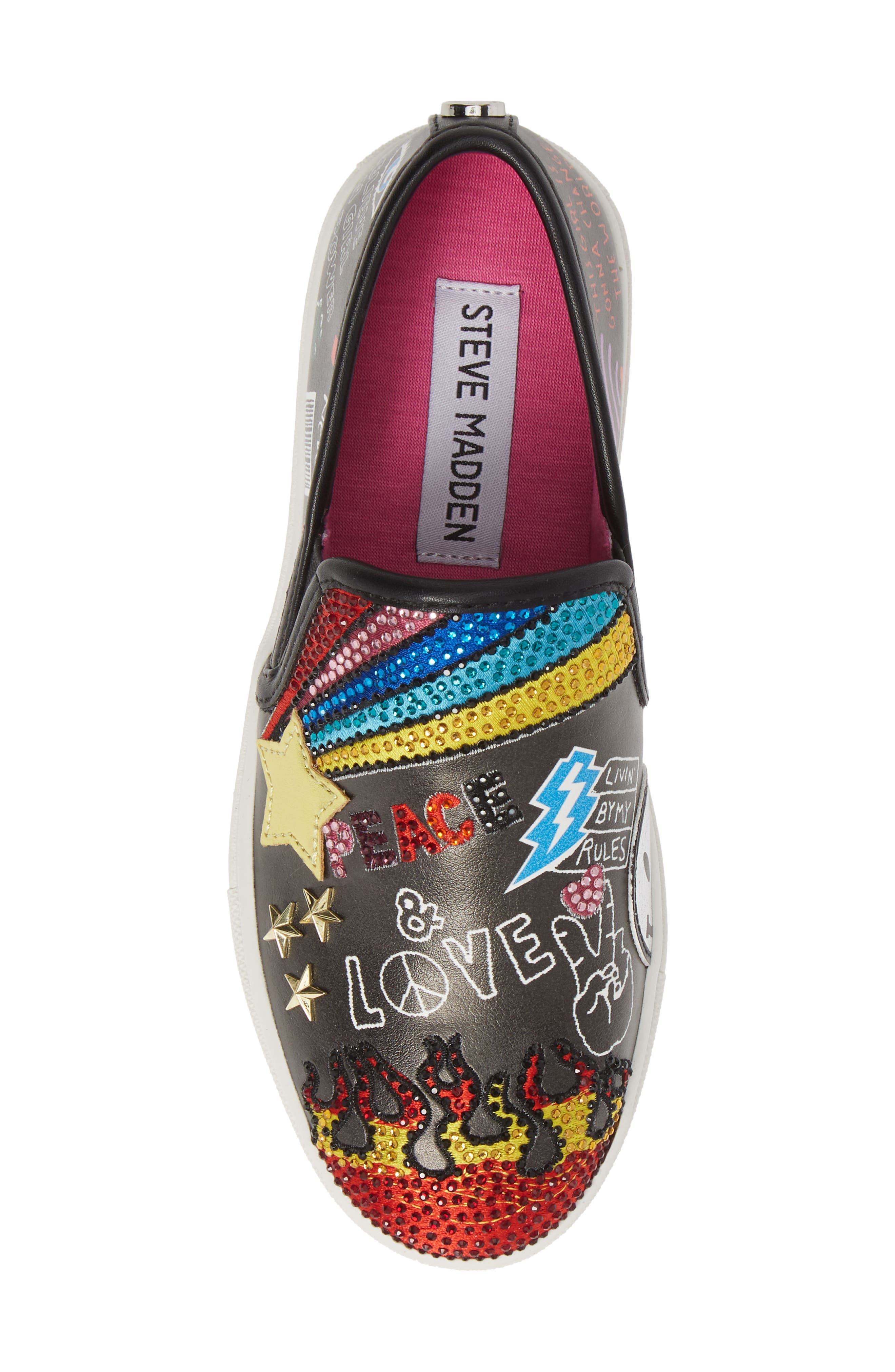 STEVE MADDEN, JPOWRFUL Embellished Slip-On Sneaker, Alternate thumbnail 5, color, BLACK MULTI