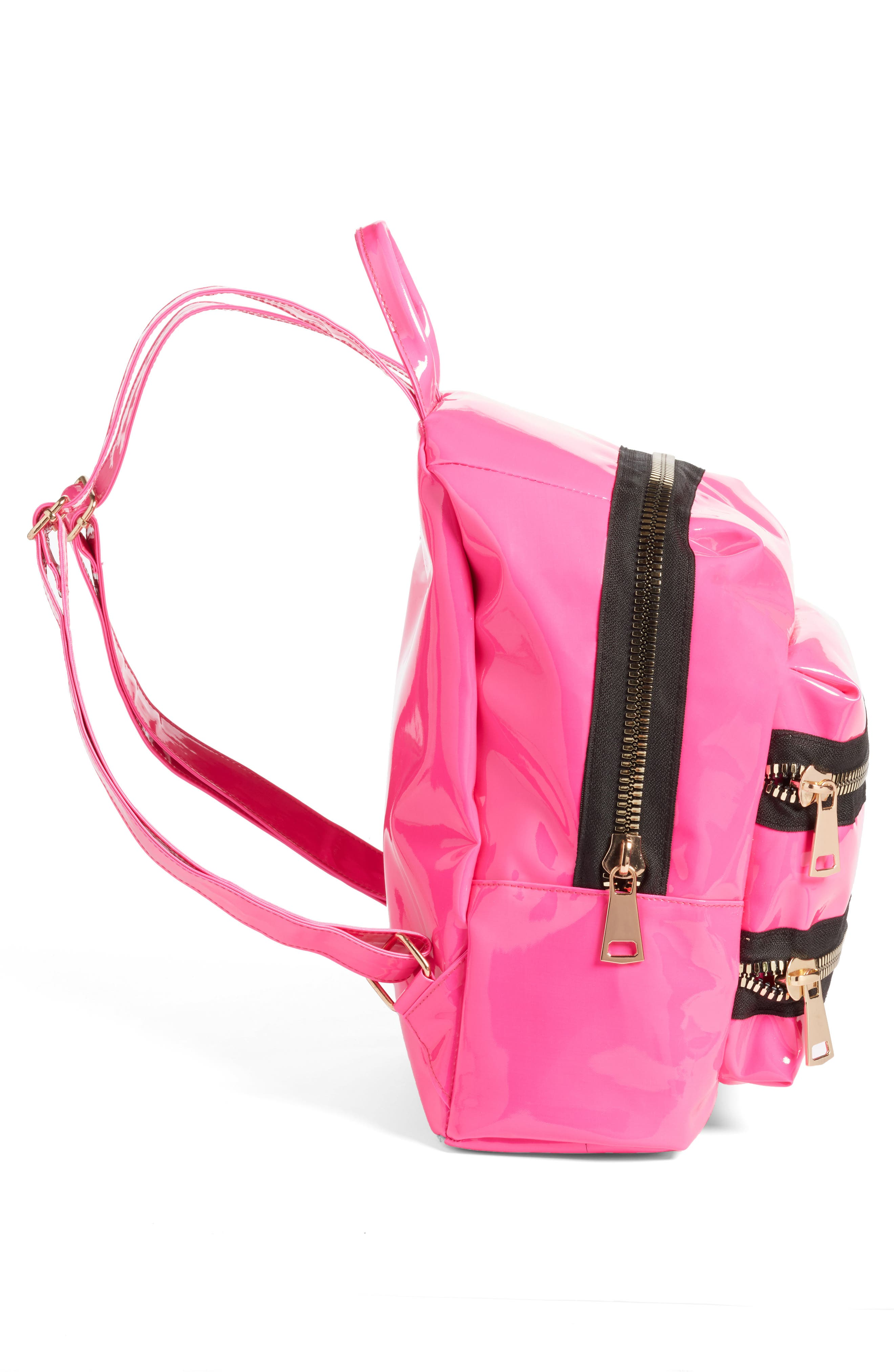 JANE & BERRY, Double Zip Faux Patent Leather Backpack, Alternate thumbnail 5, color, PINK