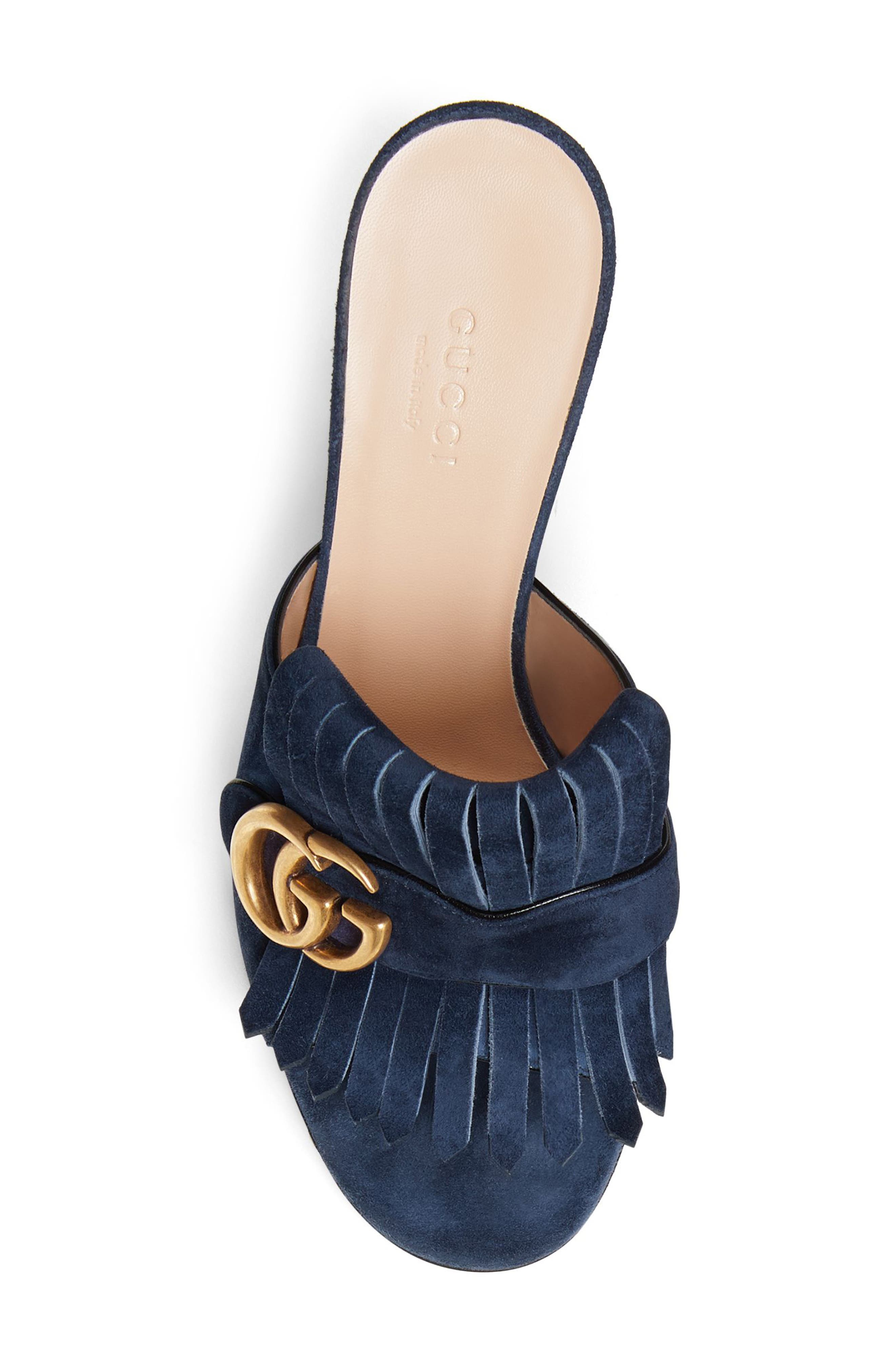 GUCCI, GG Marmont Peep Toe Mule, Alternate thumbnail 4, color, BLUE INK SUEDE